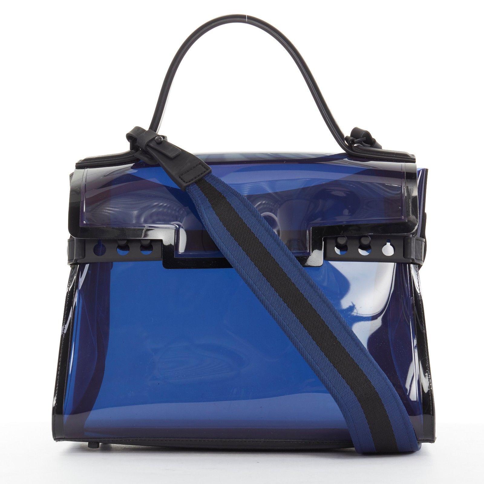 ea666c8027 Delvaux. limited DELVAUX Dark Night Tempete navy blue PVC top handle  shoulder kelly bag