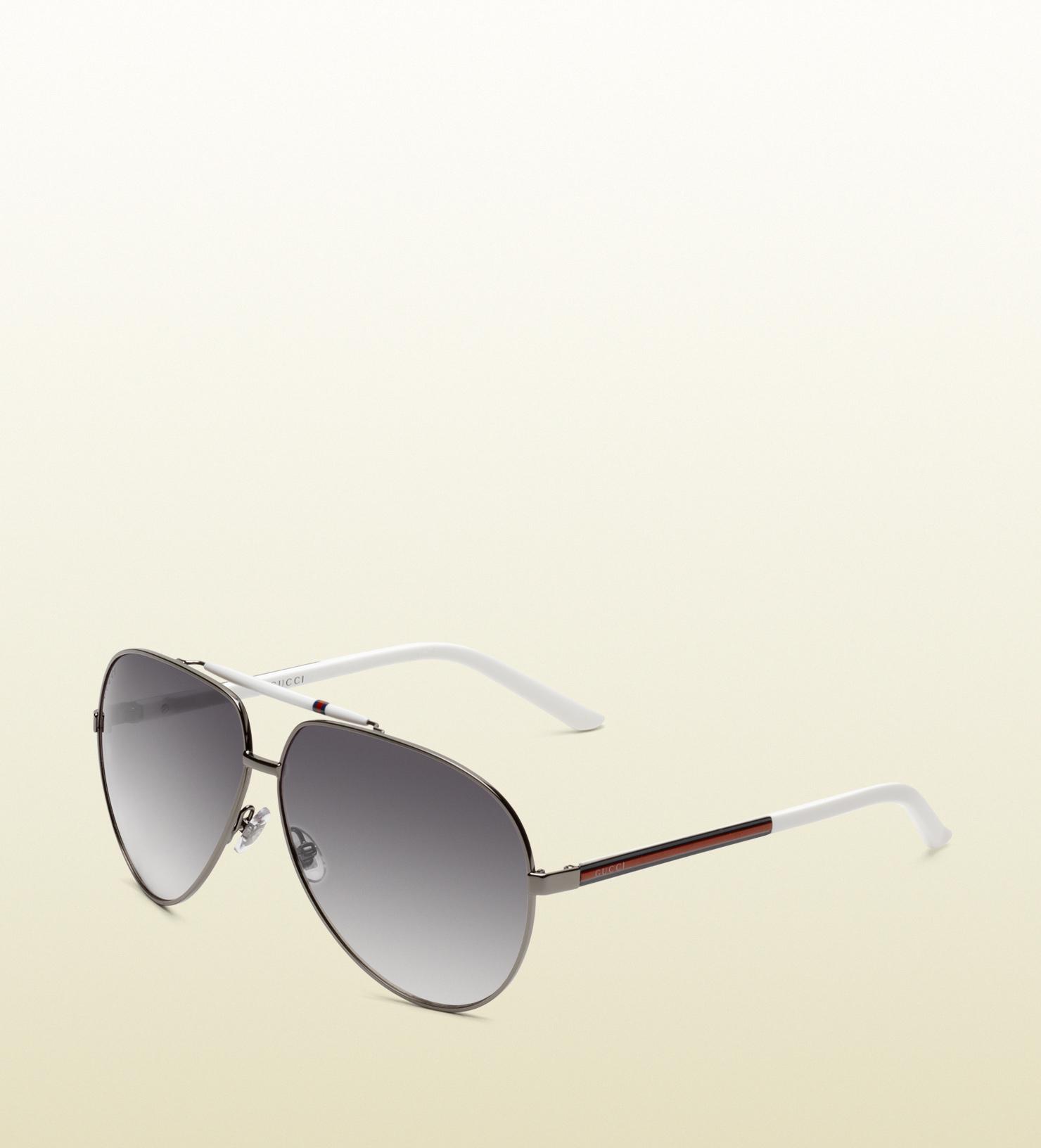 522d072e2c Gucci New Gucci 1933 s White Logo Stripe Aviator Sunglasses