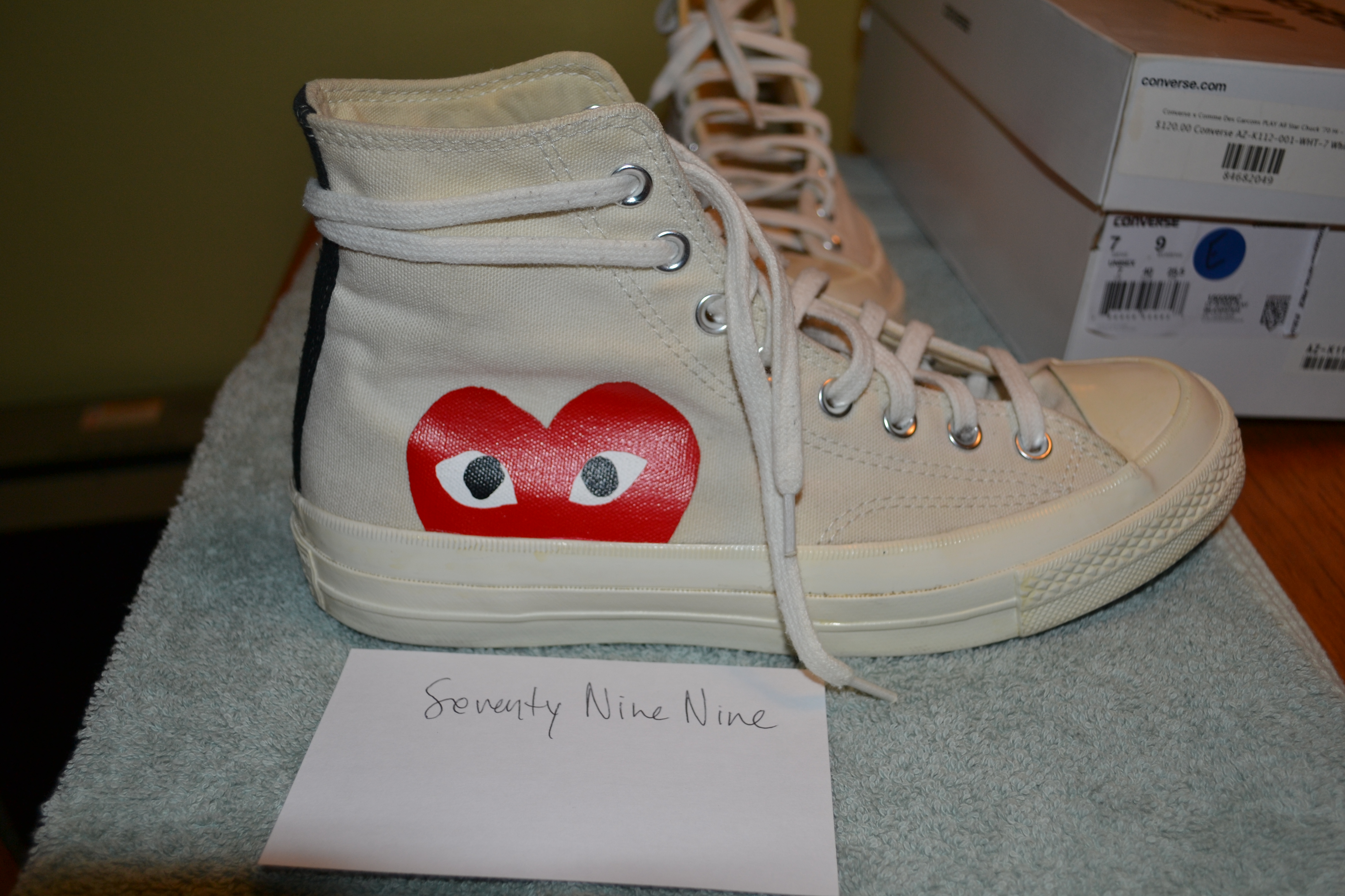 54a77bc53df8 Converse  Hidden Heart  High Top Sneakers - White Canvas Size 7 - Hi ...