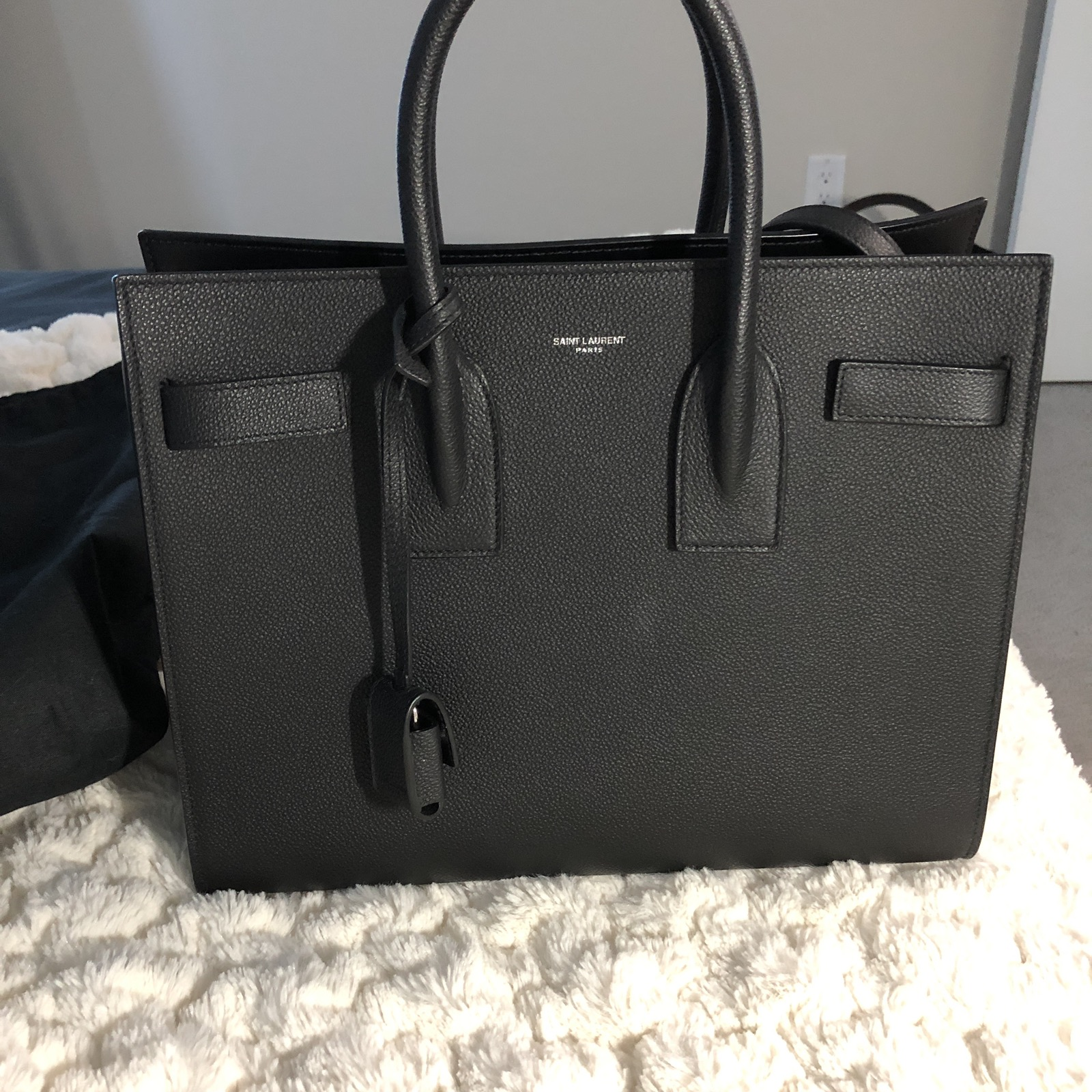 amazing quality best quality distinctive style YSL Large Sac De Jour Carry All Bag In Black Grained Leather