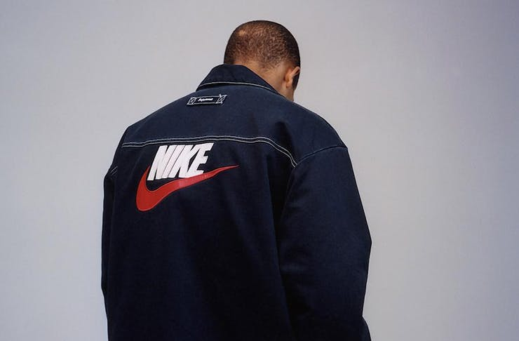 Supreme®/Nike® Double Zip Quilted Work Jacket Navy