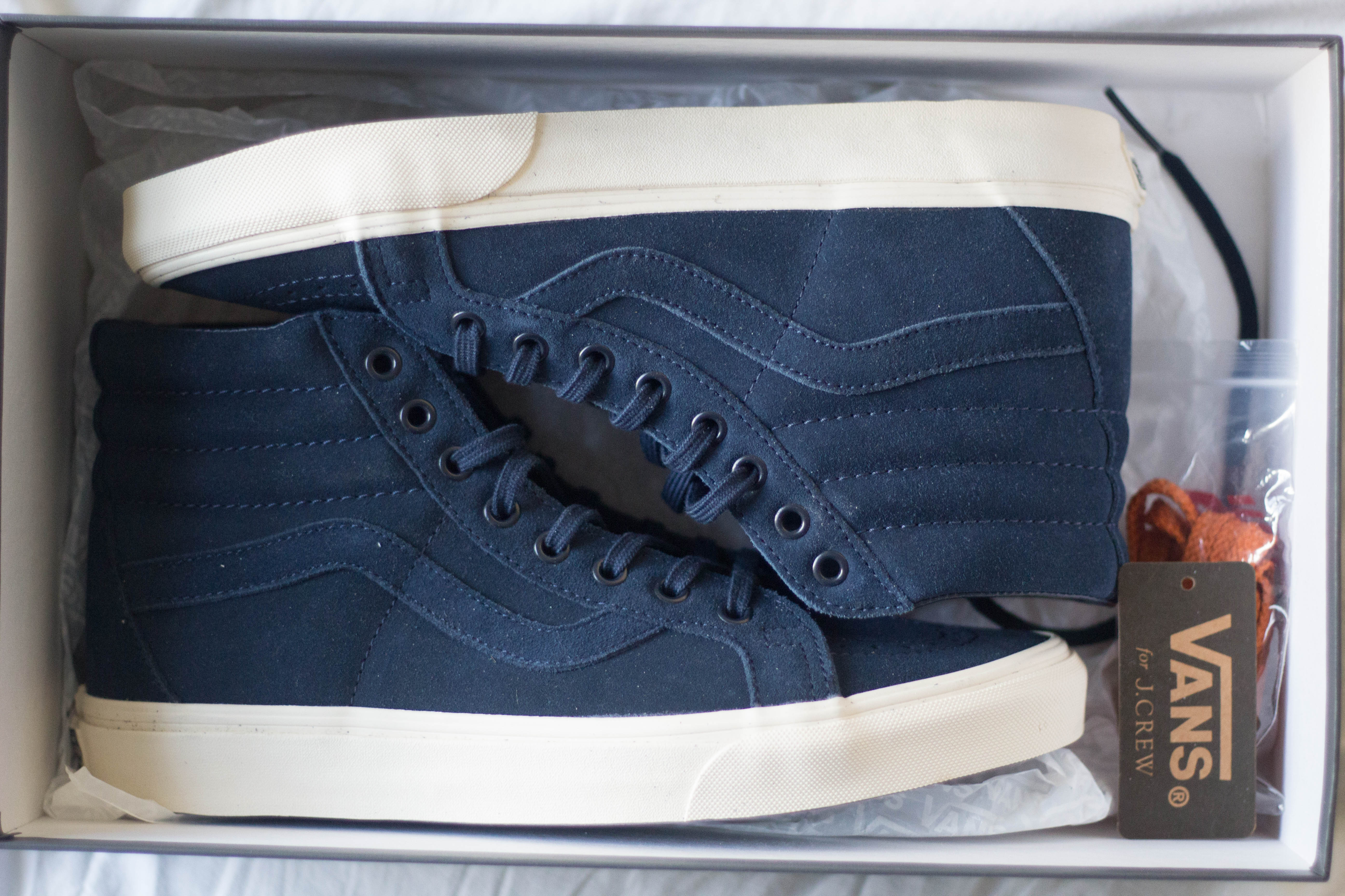 dfb6b7fae02b24 J.Crew × Vans ×. Vans x J Crew Sk8-Hi Blue Suede NWT
