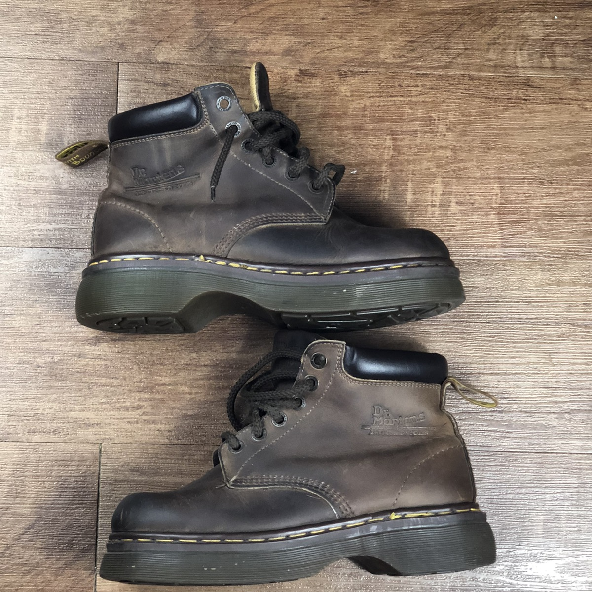 Vintage 1990s Mens DOC MARTENS Distressed Brown Leather Lace Up Boots Size US 9 9.5 Made in England Hipster Grunge