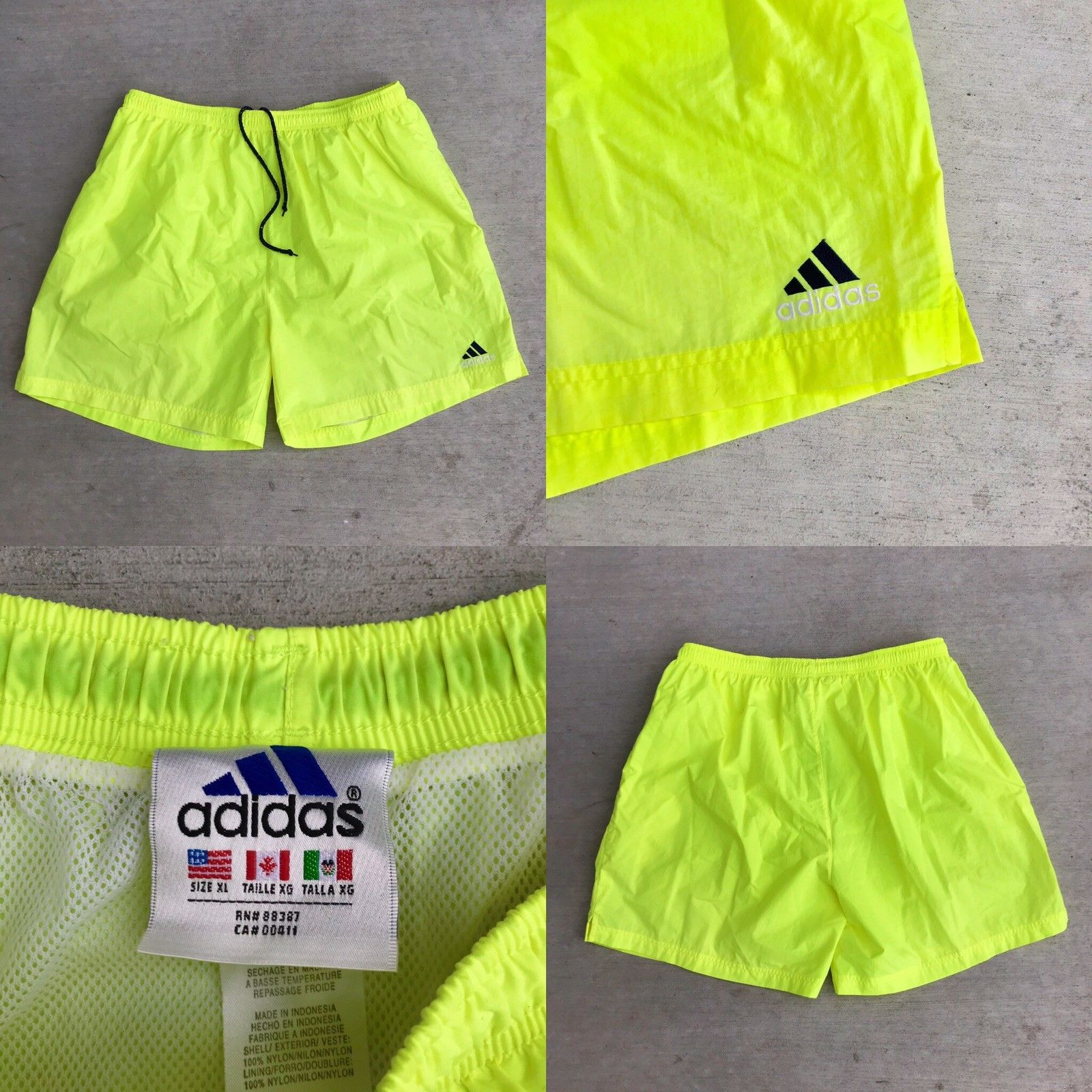 c5a5ac9473 Adidas Vintage Adidas Neon Yellow Swim Trunks Navy Blue Logo Mens ...