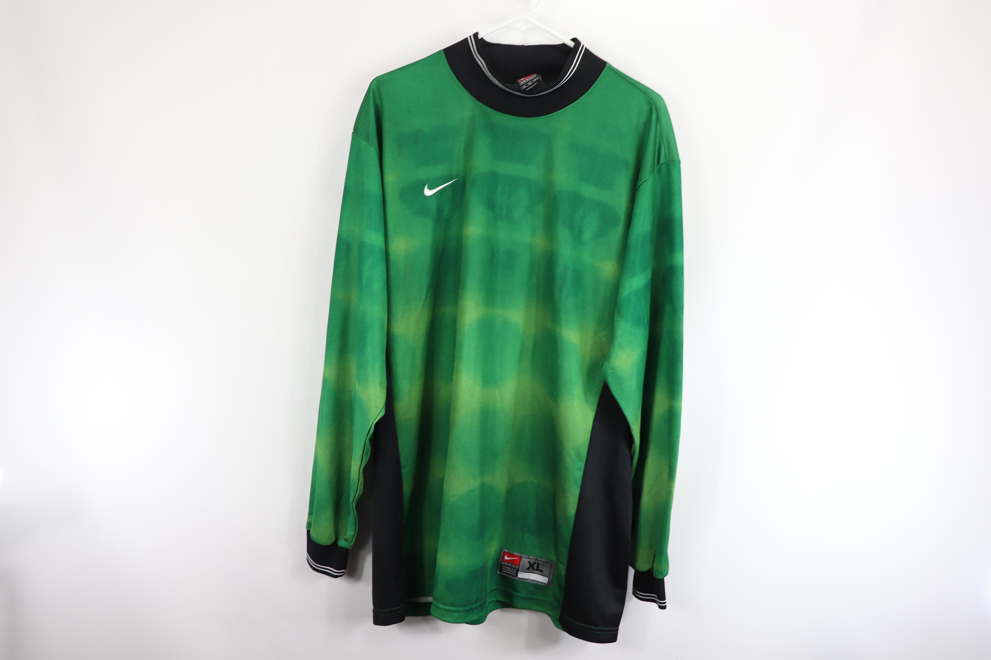 45259cac55a Nike × Vintage. Vintage 90s Nike Mens XL Long Sleeve Soccer Goalkeeper  Goalie Jersey Green