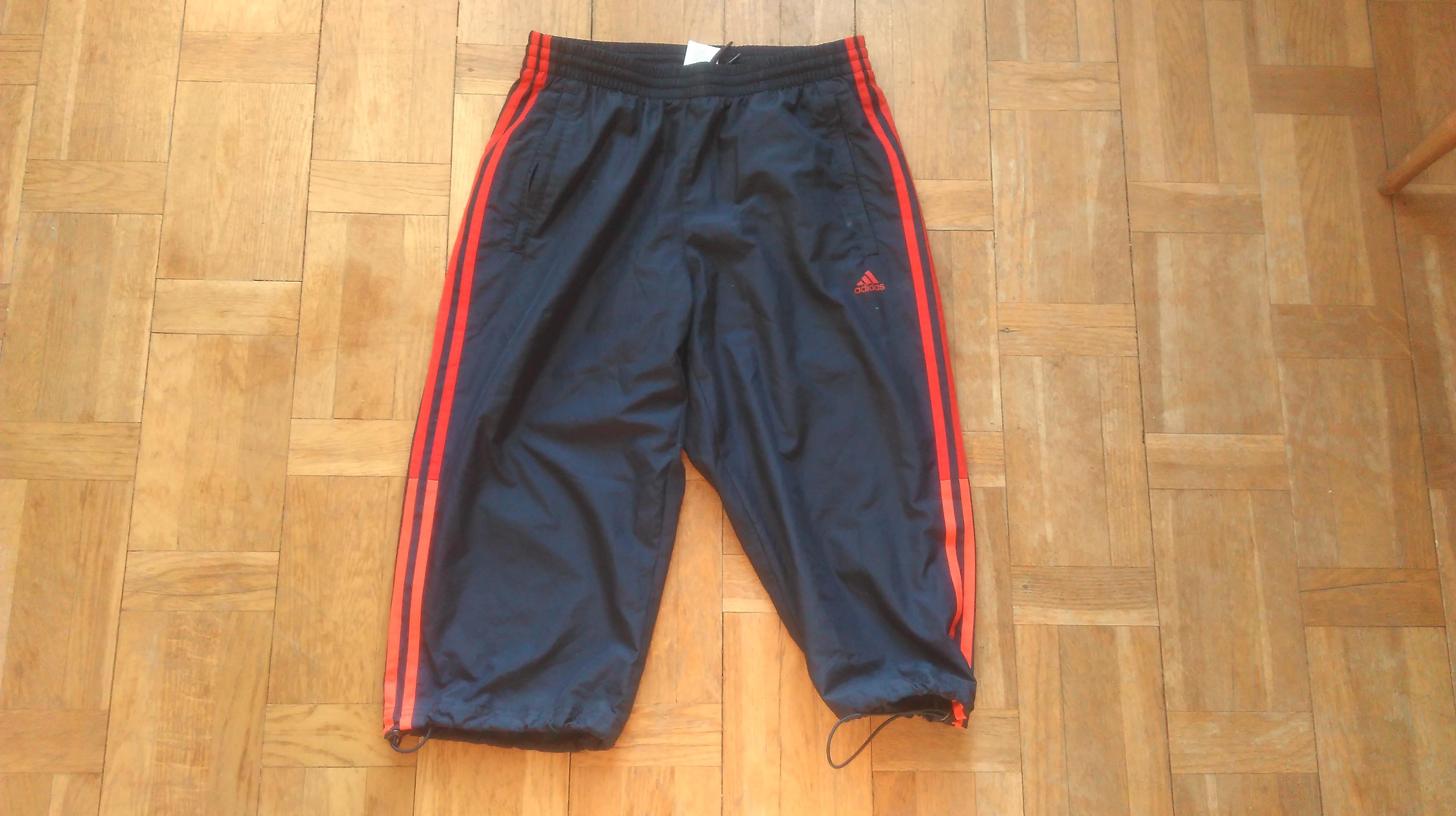 0f2114e4c8 Adidas ×. Adidas Performance Mens 3/4 Length Training Long Shorts Dark Blue  With Red And Orange Stripes Size Medium ...
