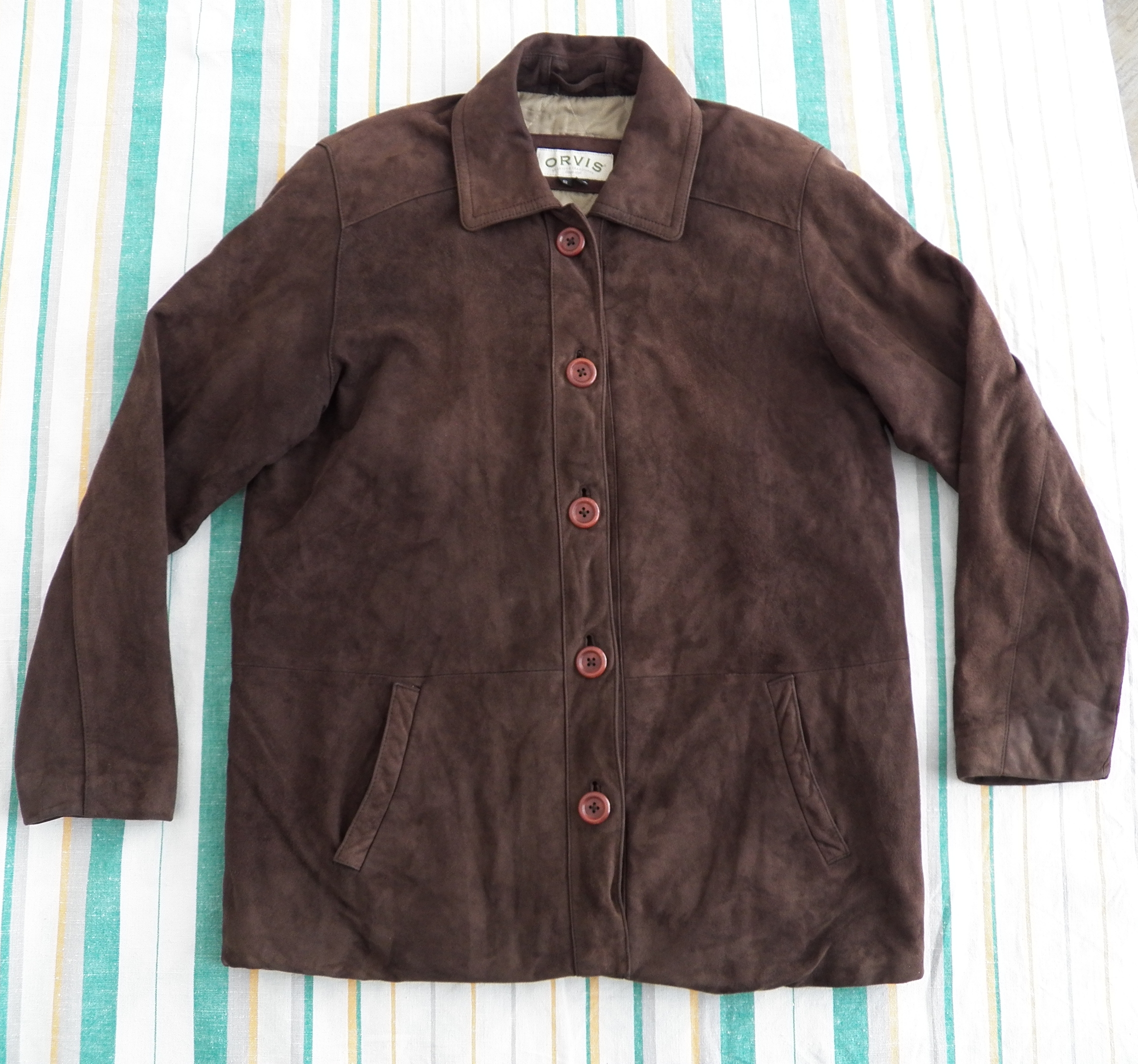 bdb547c65d3 Orvis WOMENS Brown Soft Suede Leather Ranch Jacket Size Small Quilted  Insulated