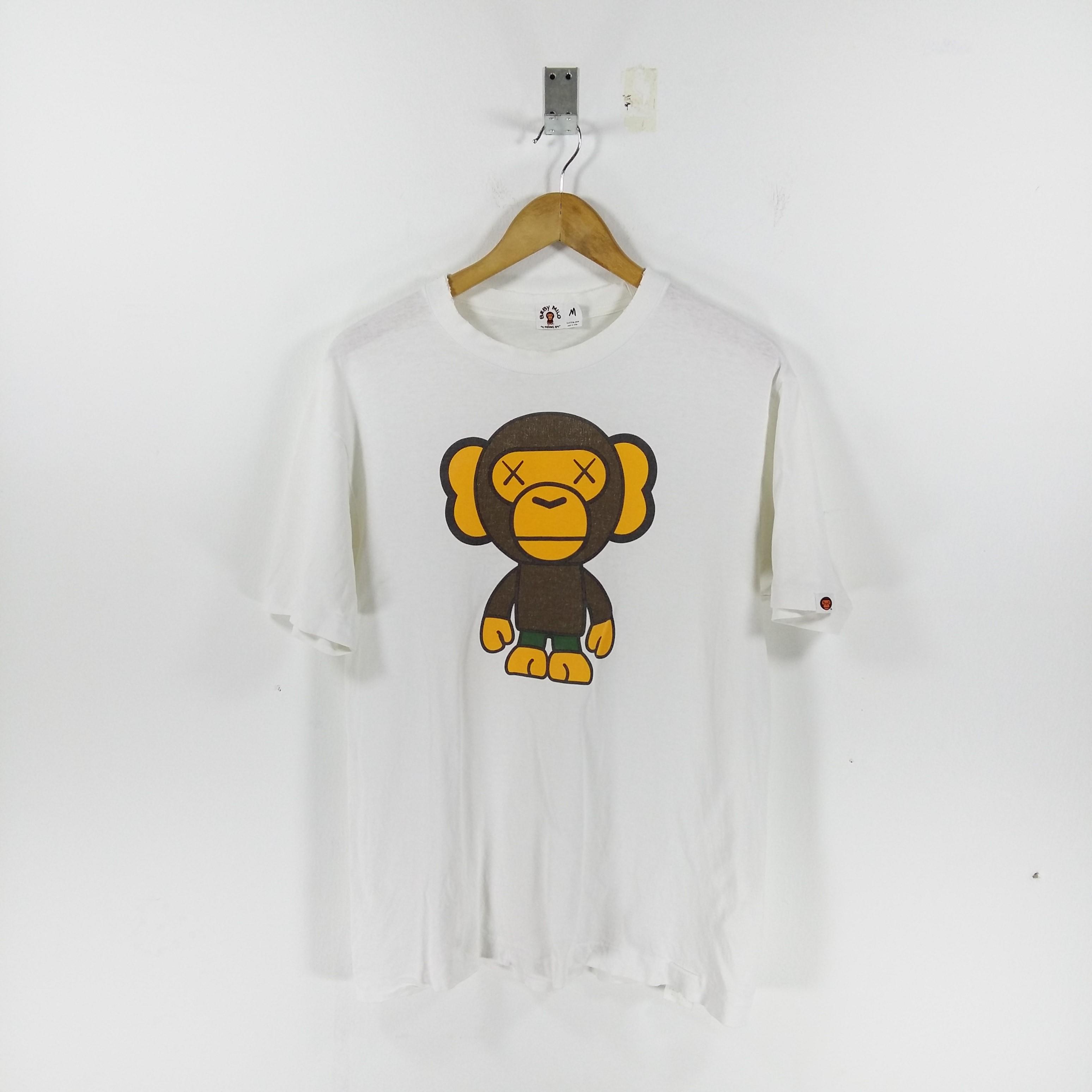 317b2d3fd Bape × Kaws ×. Baby Milo By BATHING APE X KAWS White Crewneck Tshirt  Biglogo Print Size Medium