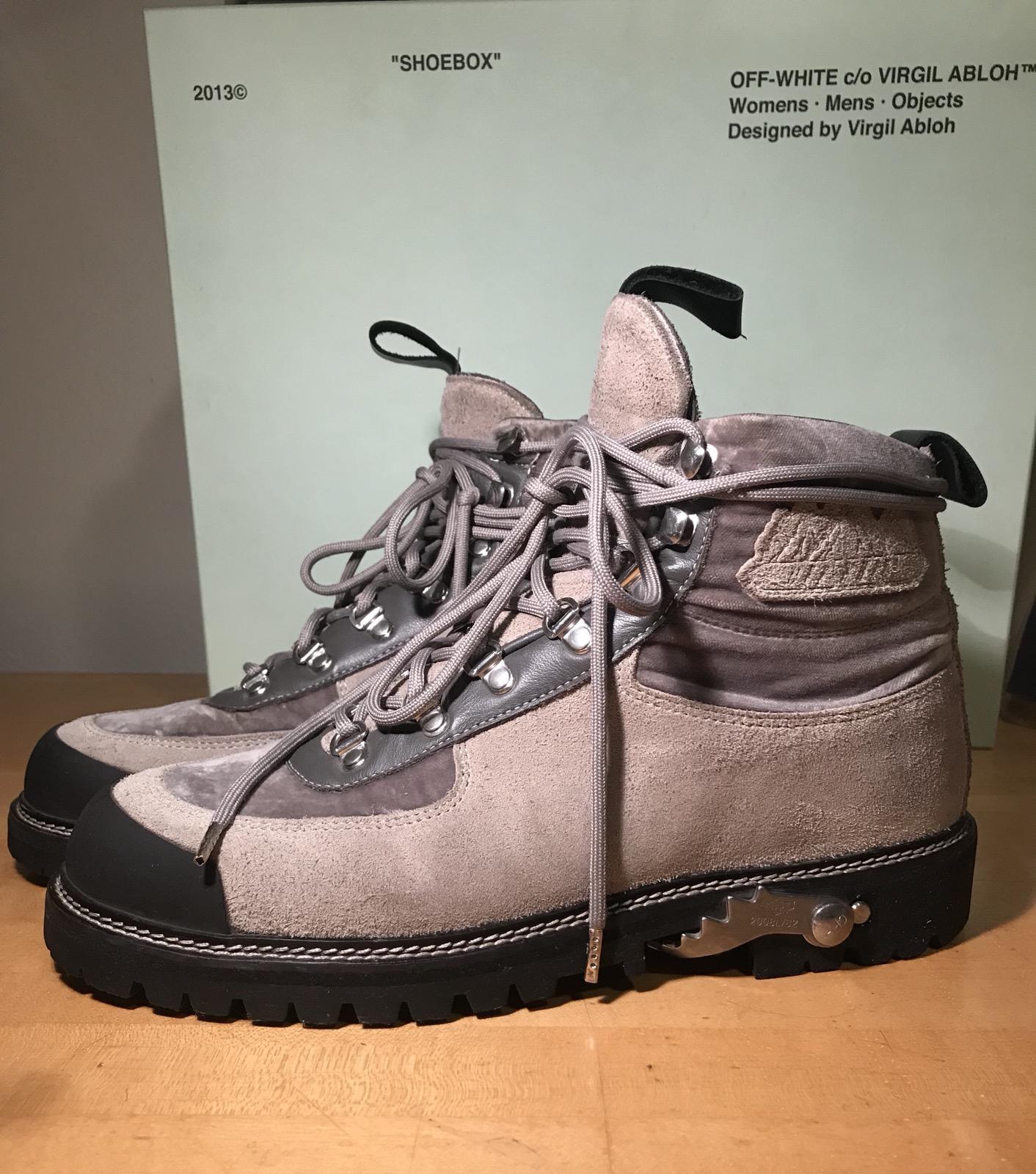 c74e2da69e5 Off-White Suede & Velvet trimmed Hiking Boot