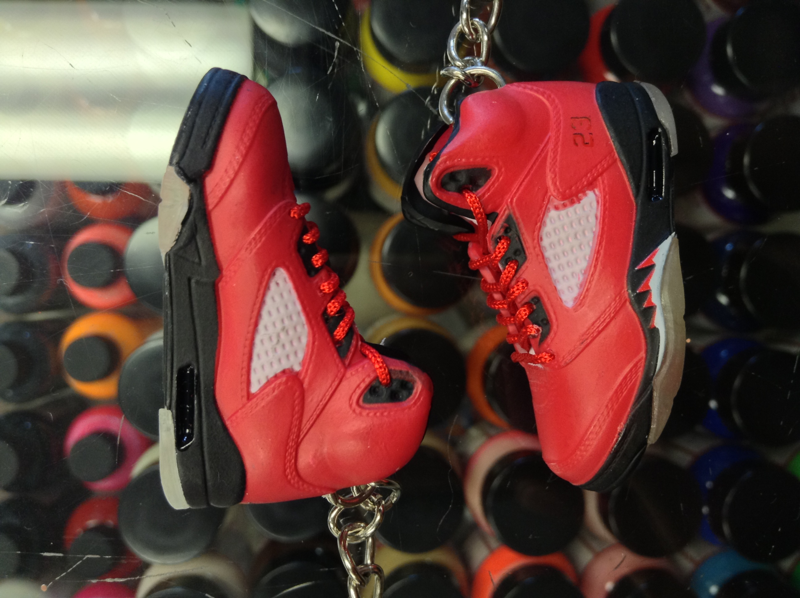 74f99235aa3 Rubber Keychain 2009 Nike Air Jordan V Raging Bull Red Suede 3d Keychain |  Grailed