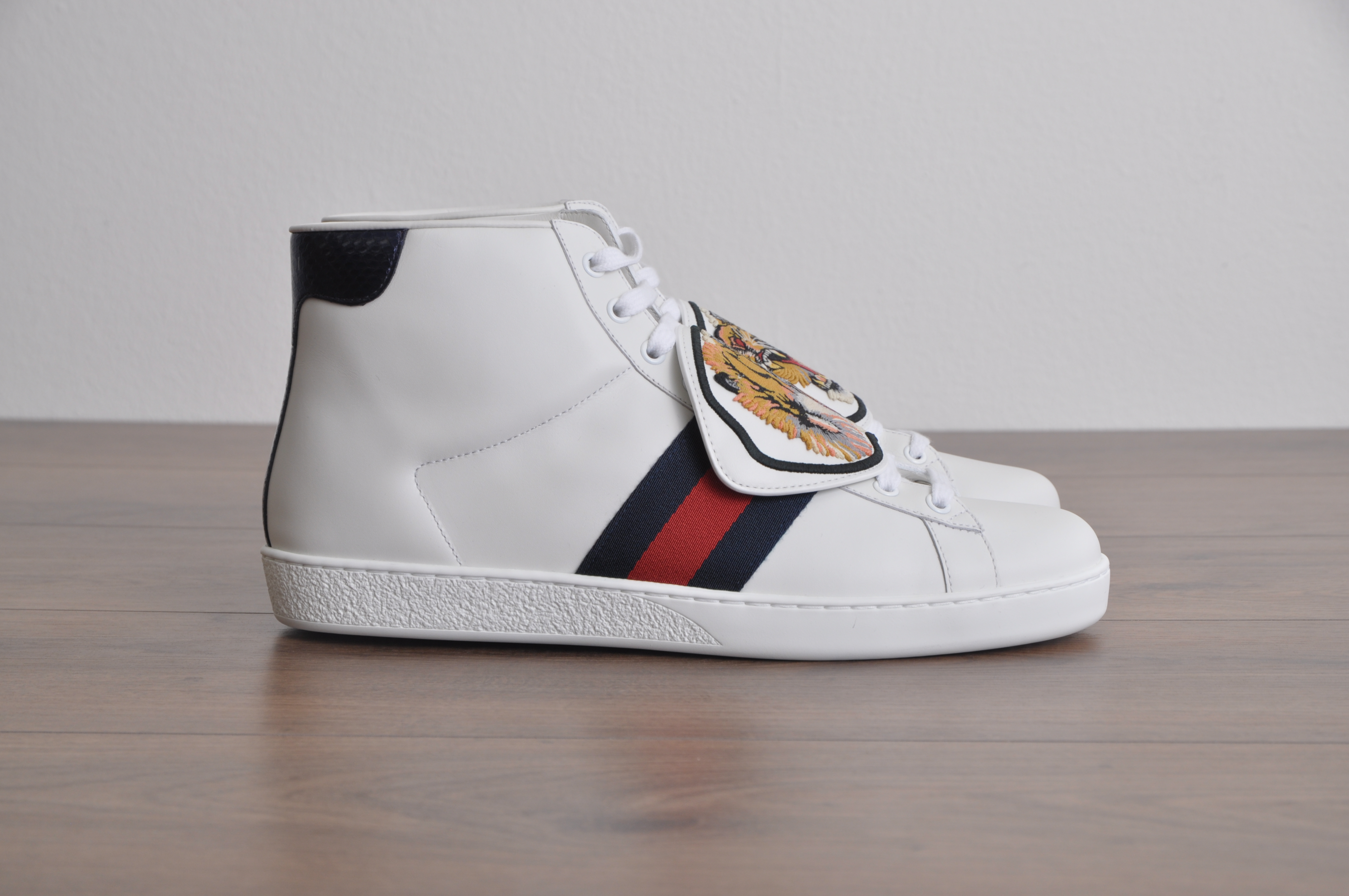 5fdcad39ef5 Gucci White Ace High Top Sneaker With Removable Embroidered Patches Size  10.5 - Hi-Top Sneakers for Sale - Grailed
