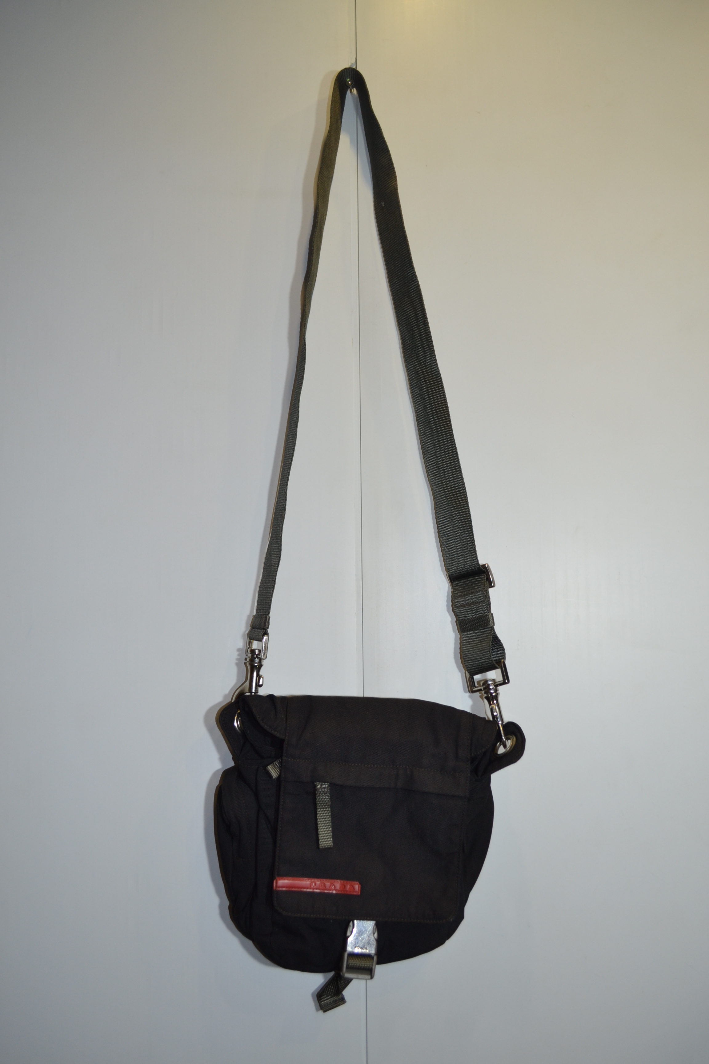 4fc8c99e4f12 Prada Prada Sport Cross Body 4va440 Nylon Bag Black Grey And Red ...
