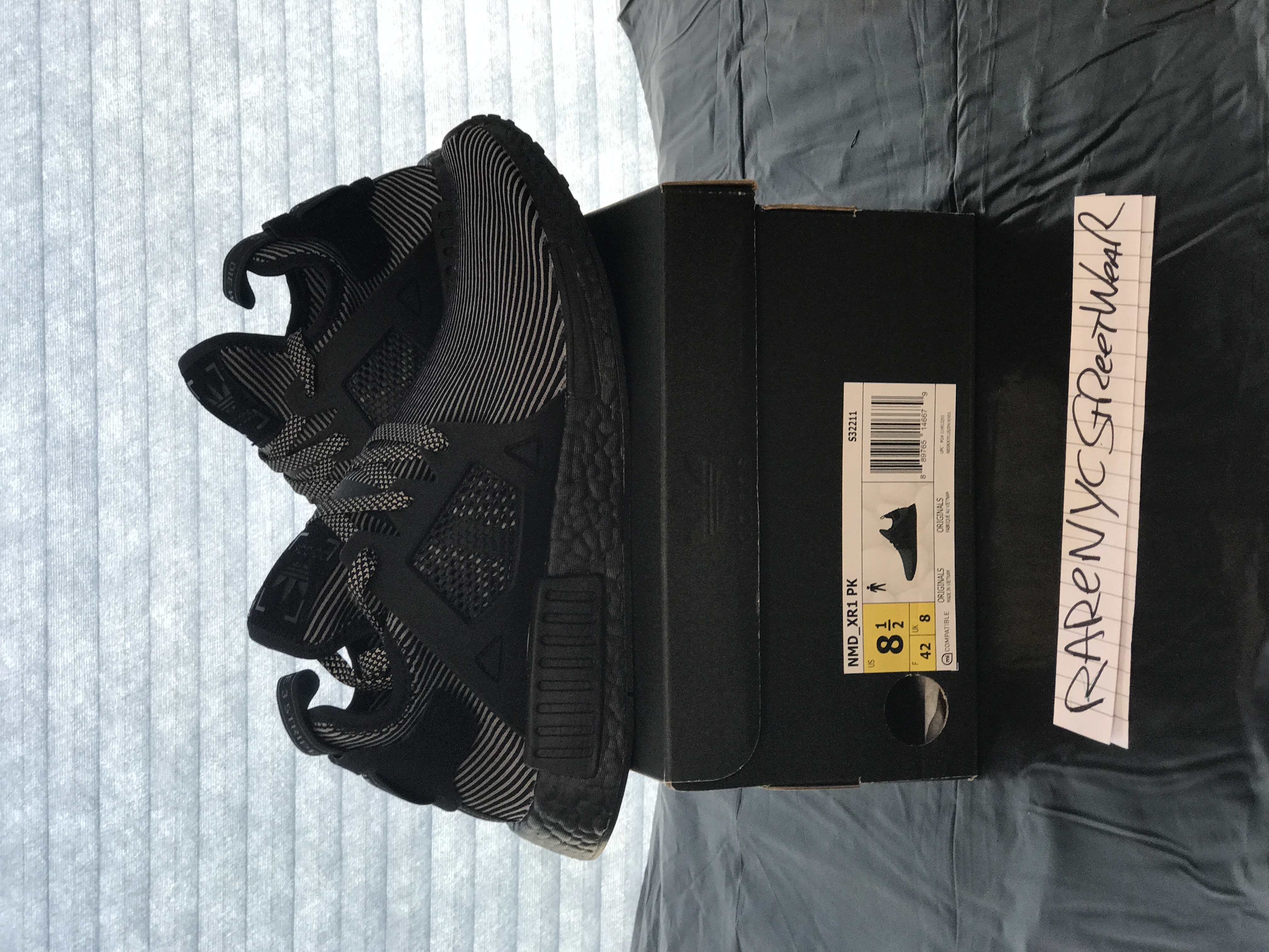 Adidas NMD XR1 Triple Black Pinstripe DS