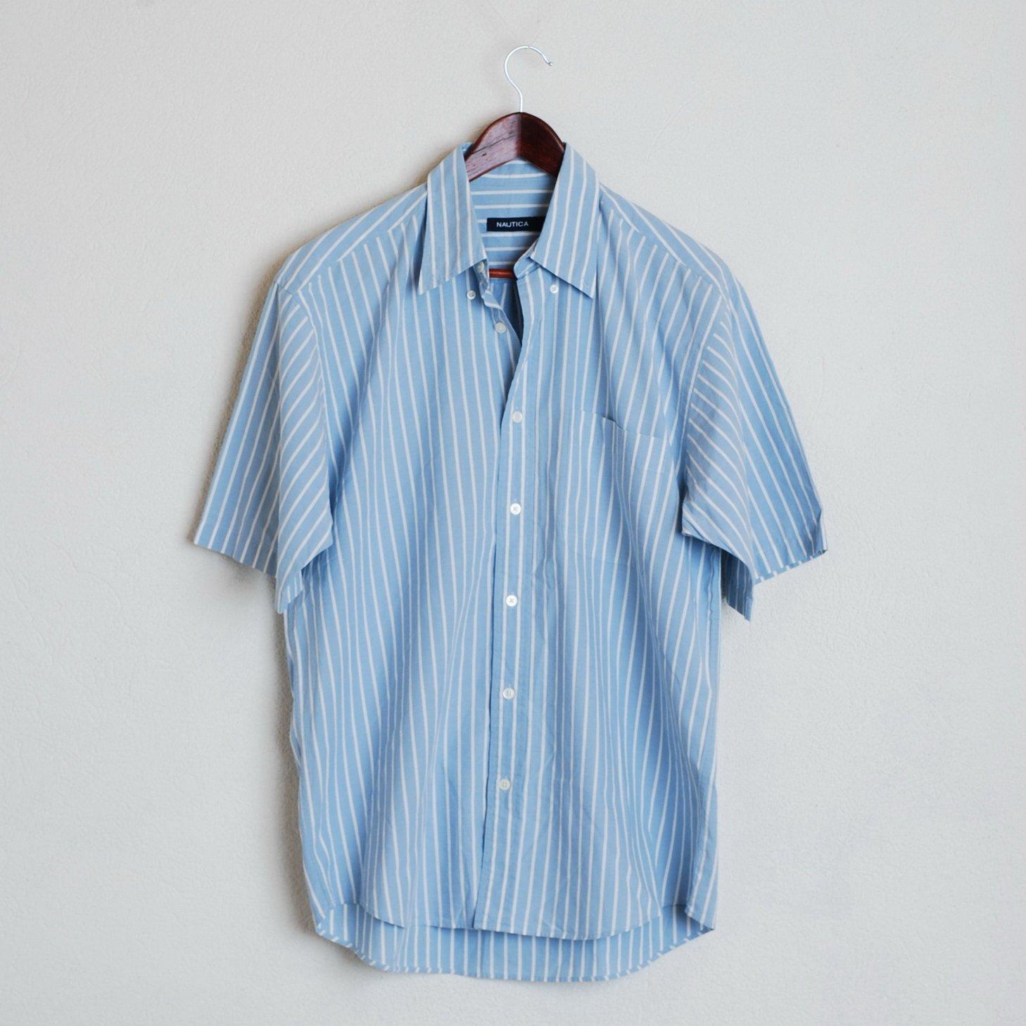 Nautica Nautica Mens M Blue Striped Casual Shirt Short Sleeve Summer
