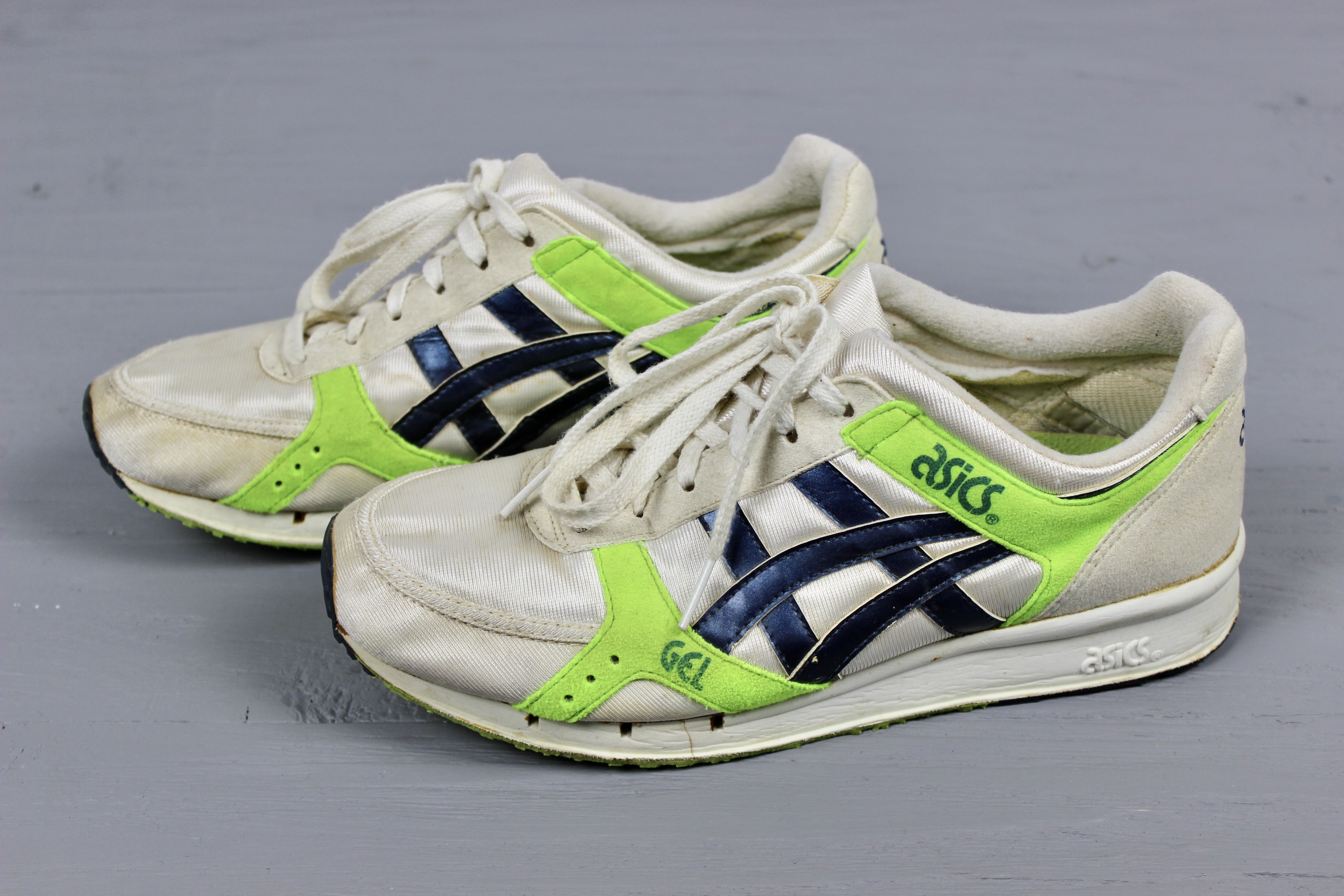 Mens Vintage 80s ASICS AP GEL LD Racer Shoes White Green