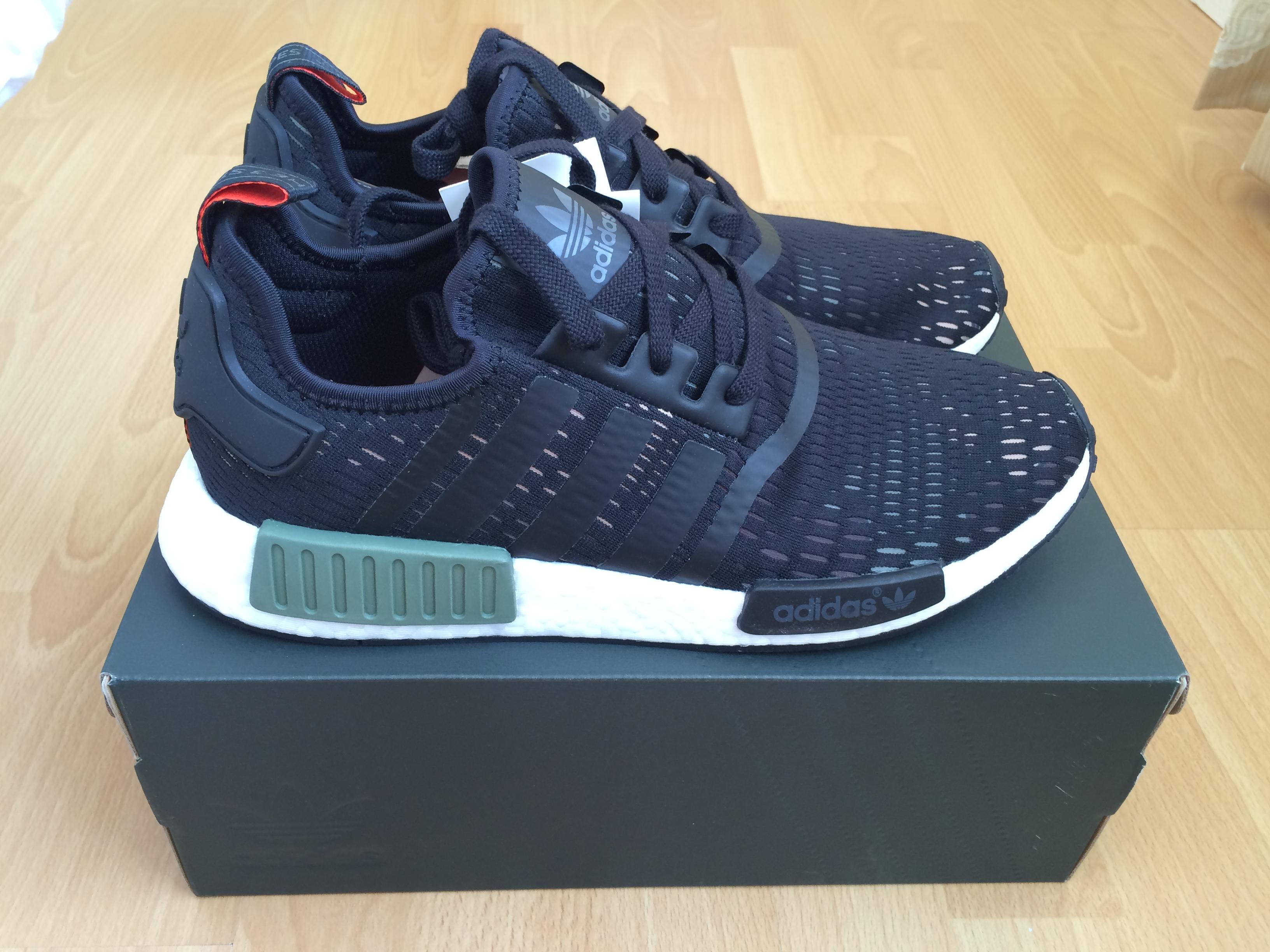 adidas nmd r1 black and green