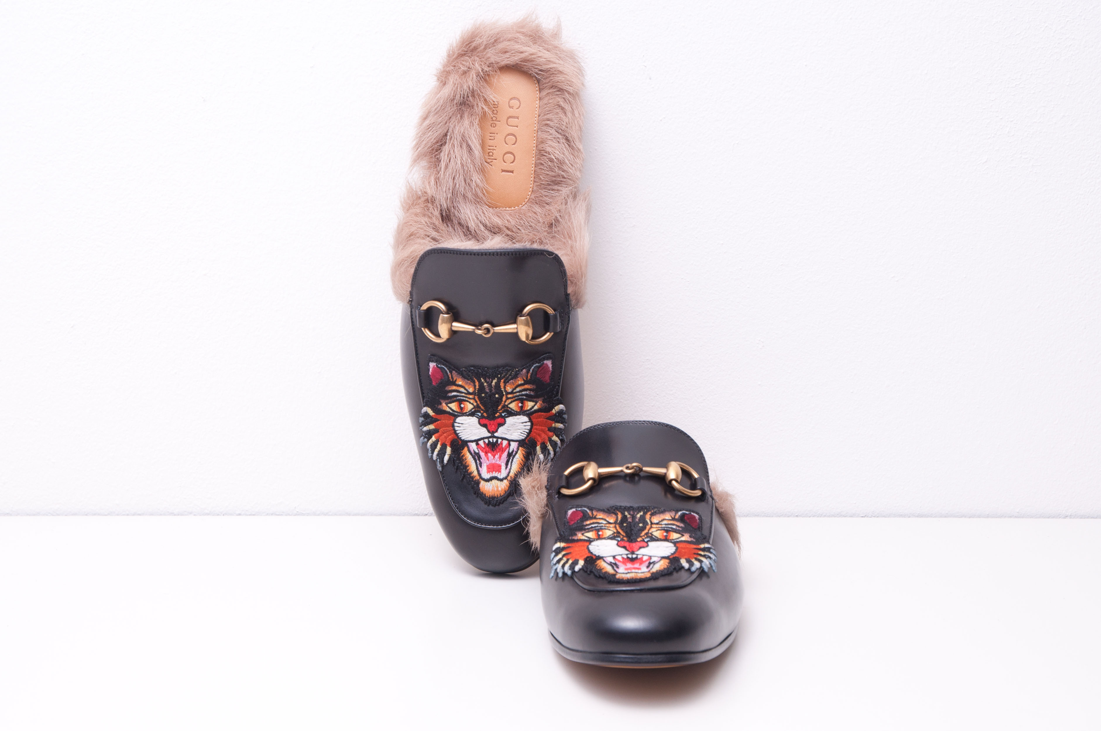 08e93ffab Gucci Black Leather Princetown Slipper With Angry Cat Applique | Grailed