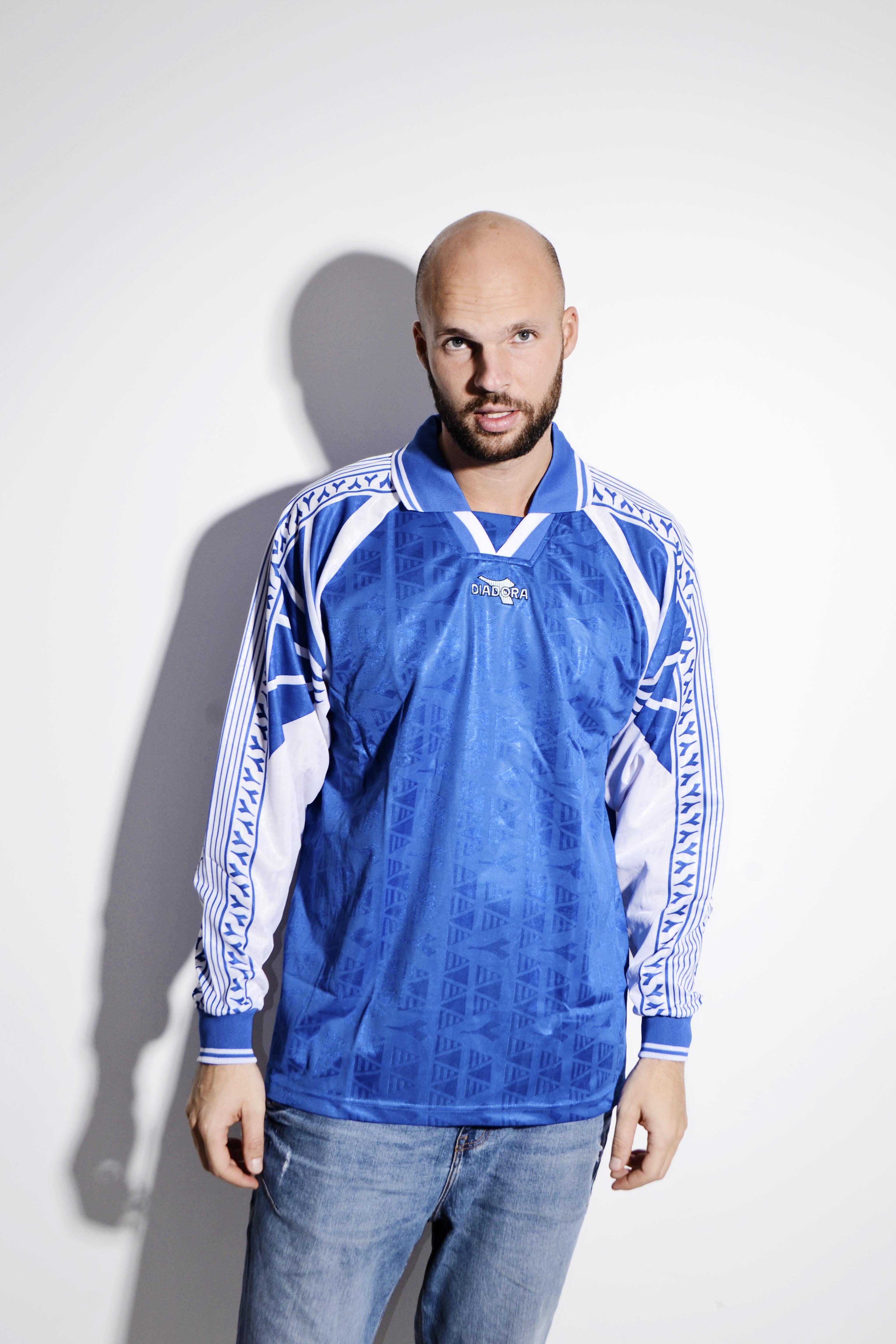 f391a957ec DIADORA football blue shirt for men   Soccer team training sports rugby  polo long sleeves shirt top   90s streetwear sport clothing   Large