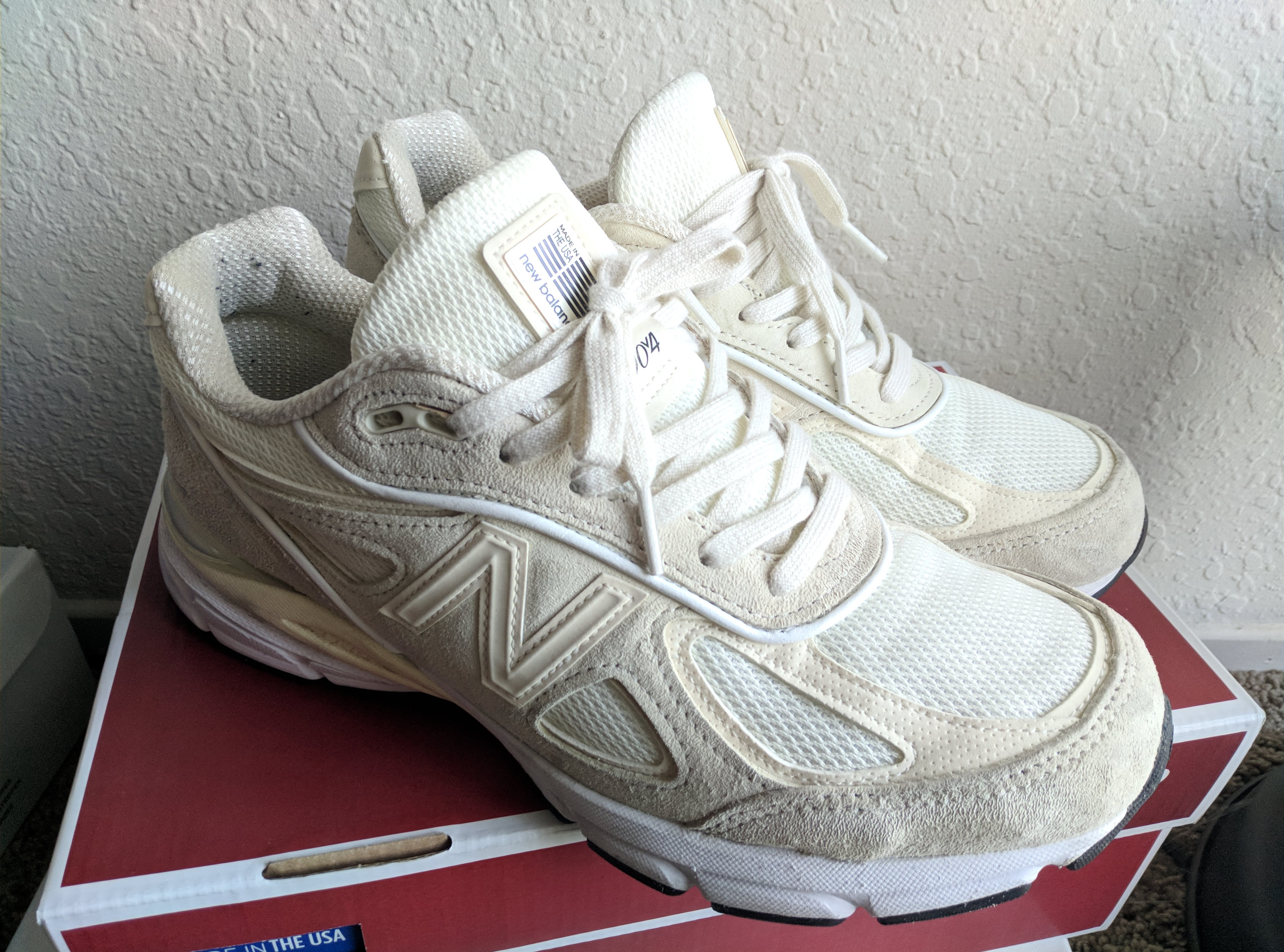 huge selection of 060d8 abf90 New Balance × Stussy ×. Stussy x NB 990v4 - Cream