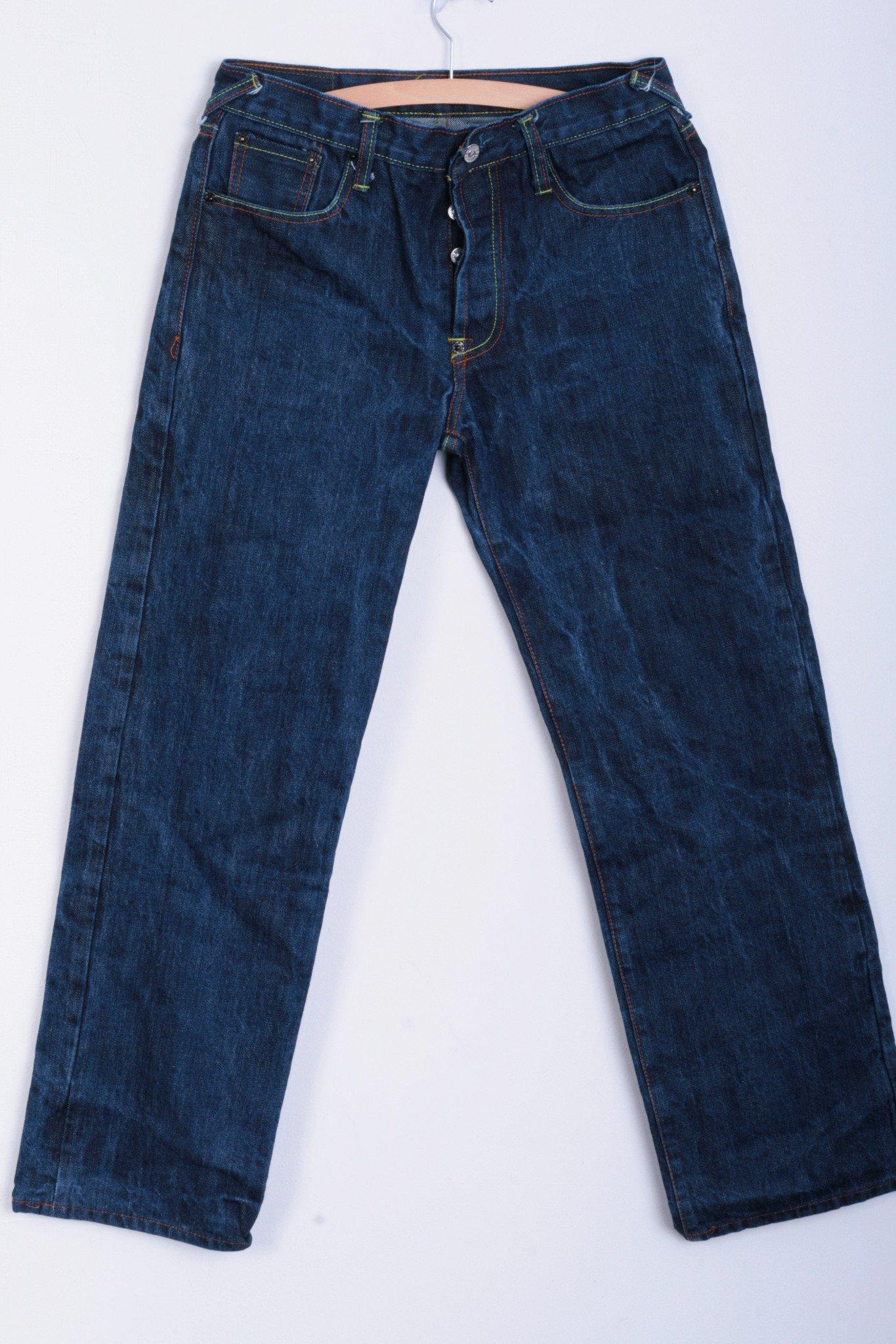 0b5dd58f1170 Evisu Evisu Mens W30 Trousers Jeans Cotton Dark Blue Denim 8752 Size ...