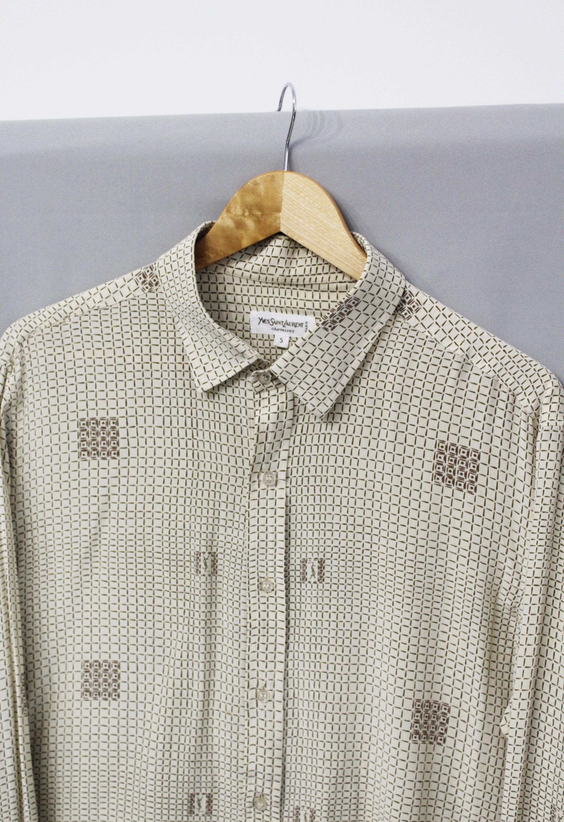 Vintage Yves Saint Laurent Chemises Check Monogram Logo YSL silk shirt