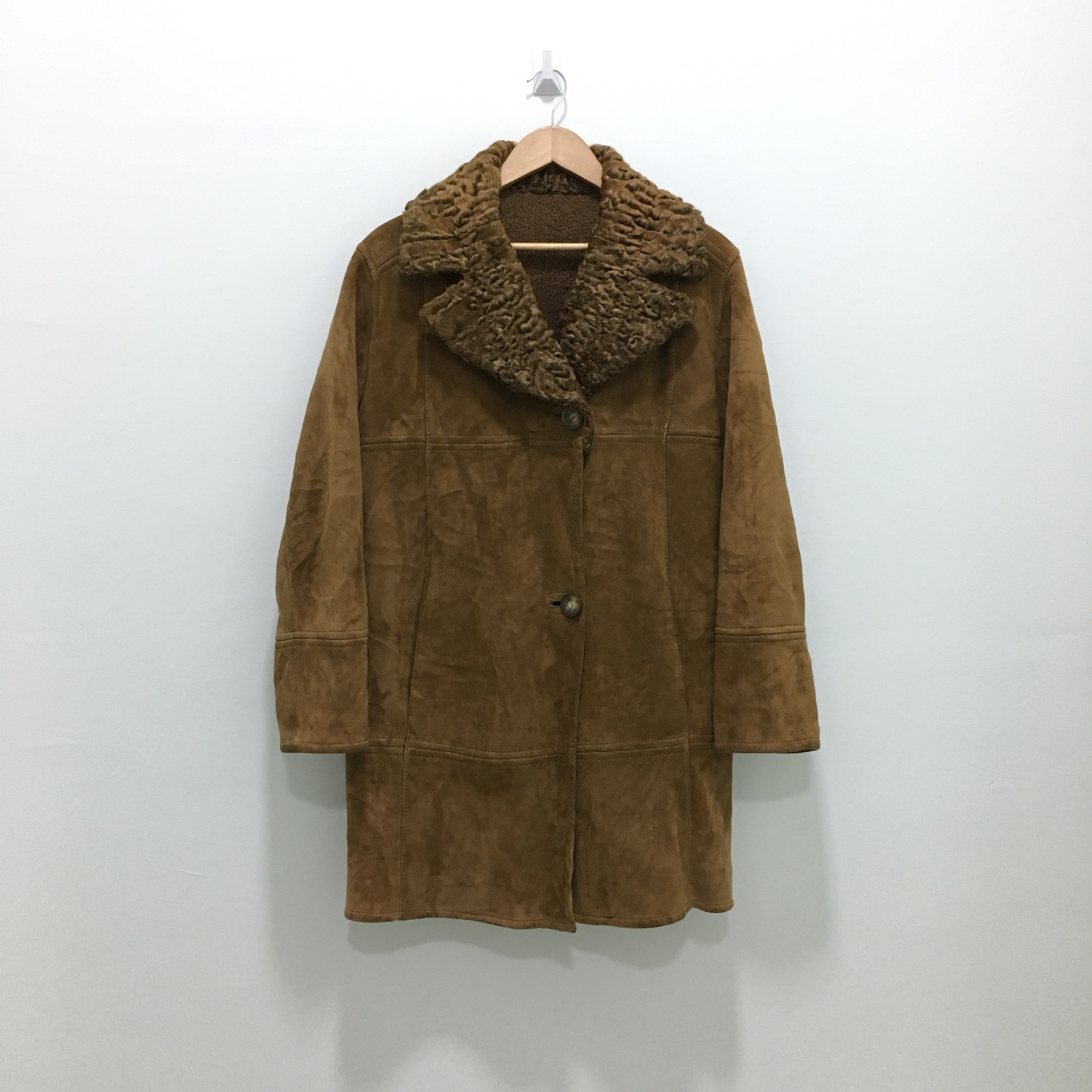 9ad8f7aa41 Sheepskin Coat × Leather Jacket. Stephen Made In Italy Deerskin Leather  Shearling Coat Jacket Fur Collar. Size  US L ...