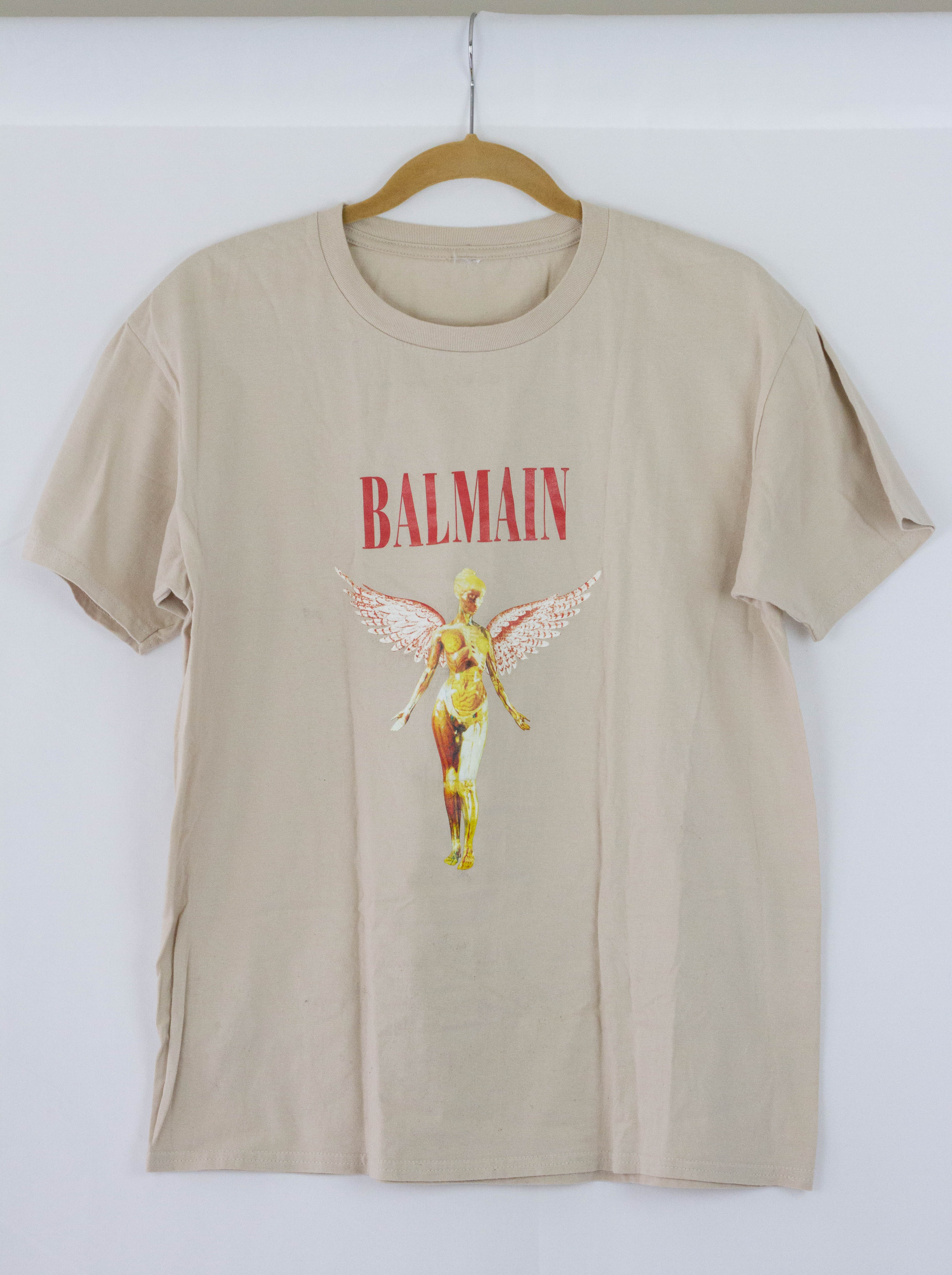 96a3a41c Balmain Nirvana X Balmain Mashup World Tour 1993 Tee Beige Fromthe ...