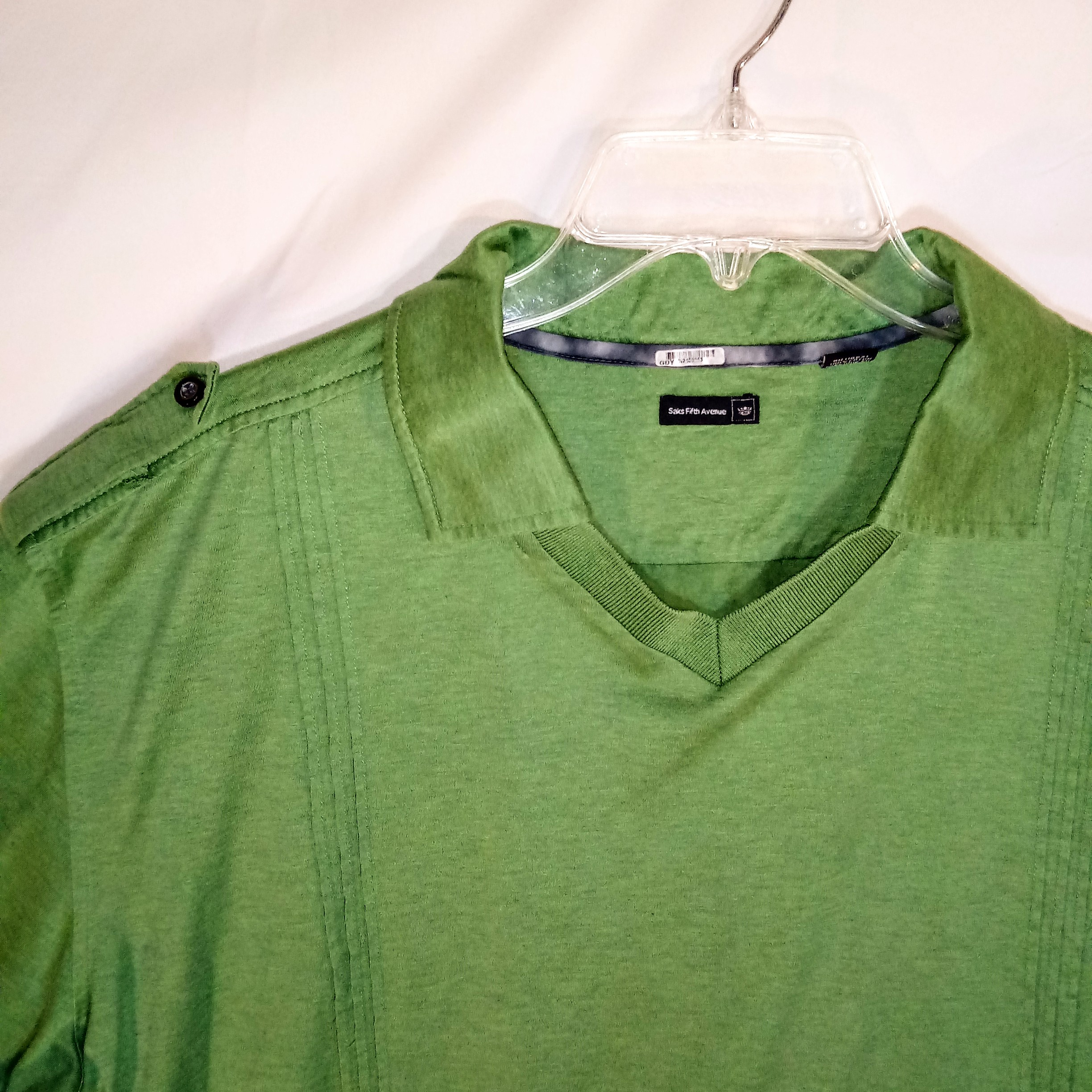 Saks Fifth Avenue Xl Saks Fifth Avenue Green Collared Shirt Size