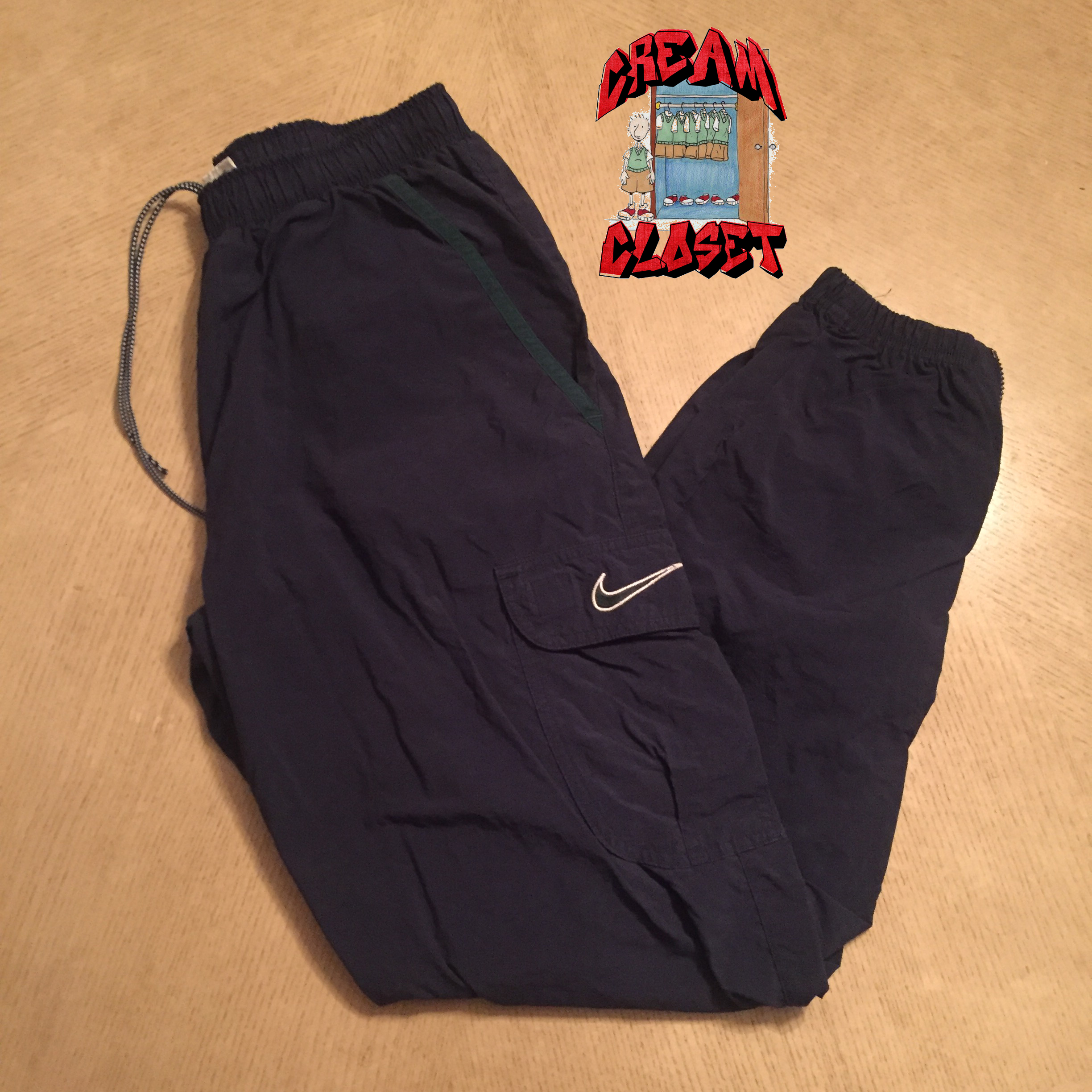 05c18dd9027a4 Nike Vintage Nike Embroidered Swoosh Cargo Track Pants In Navy Blue ...