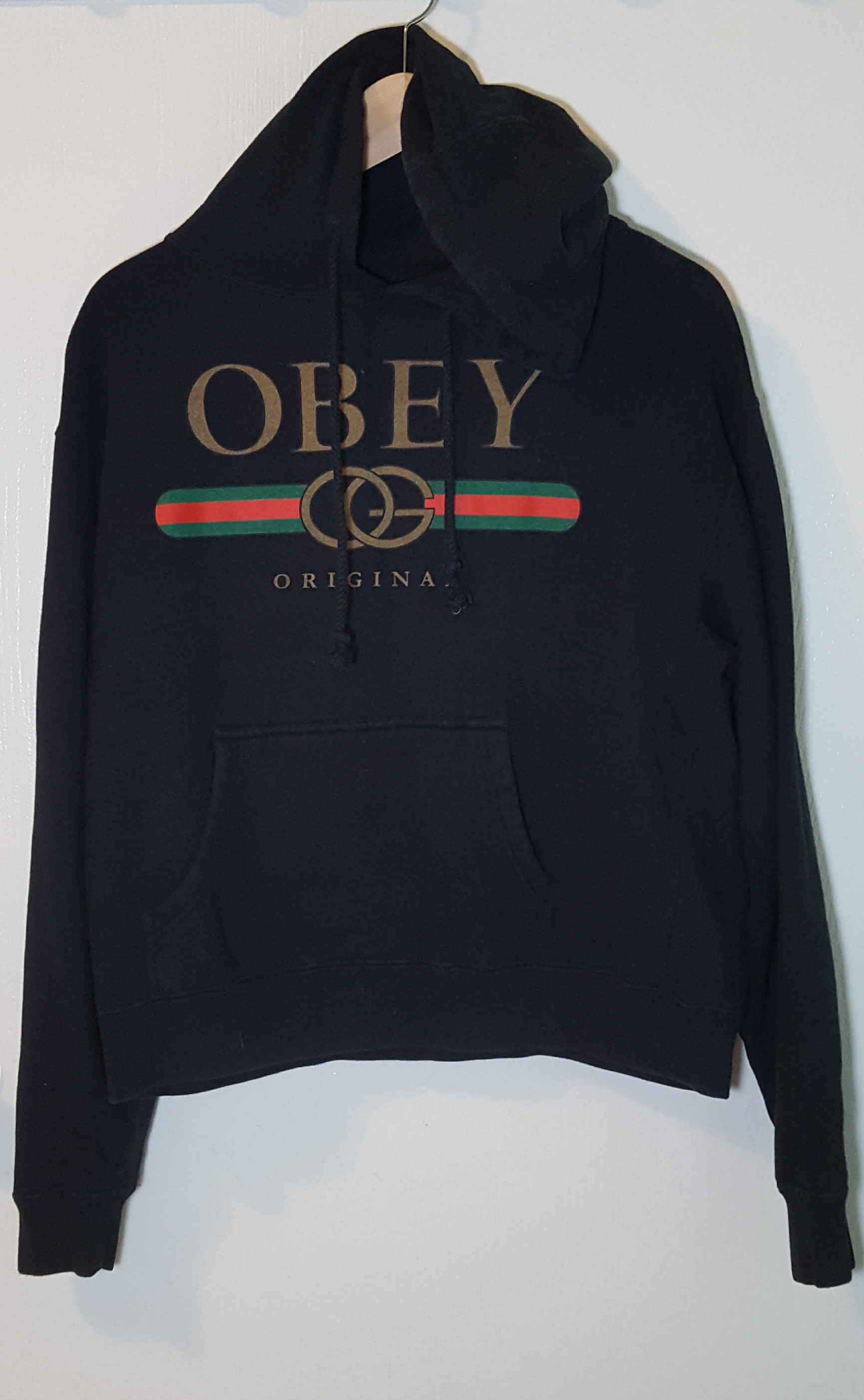 8fdb63a5077fbc Obey RARE Brand New Unofficial GUCCI × Obey Black Pull Over Hoodie Men Sz S  Size s - Sweatshirts   Hoodies for Sale - Grailed