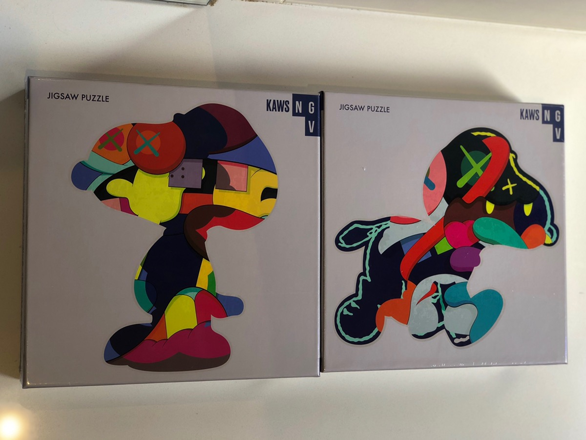 """KAWS NGV EXCLUSIVE JIGSAW PUZZLE """"No Ones Home"""" and /""""Stay Steady/"""" SET OF 2"""