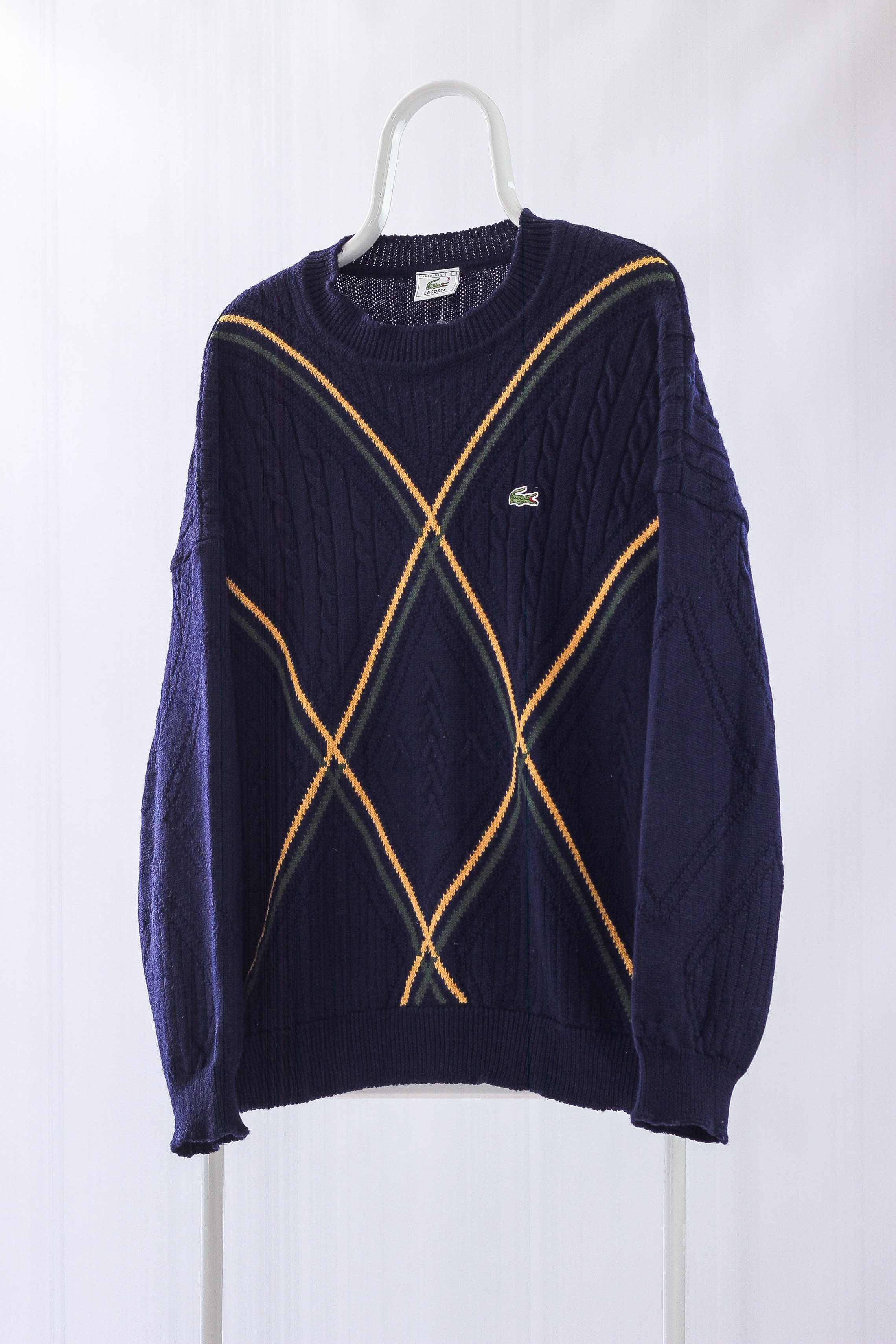 8ba96f3a2f3 Vintage Mens LACOSTE Logo Cable Knit Jumper Sweater
