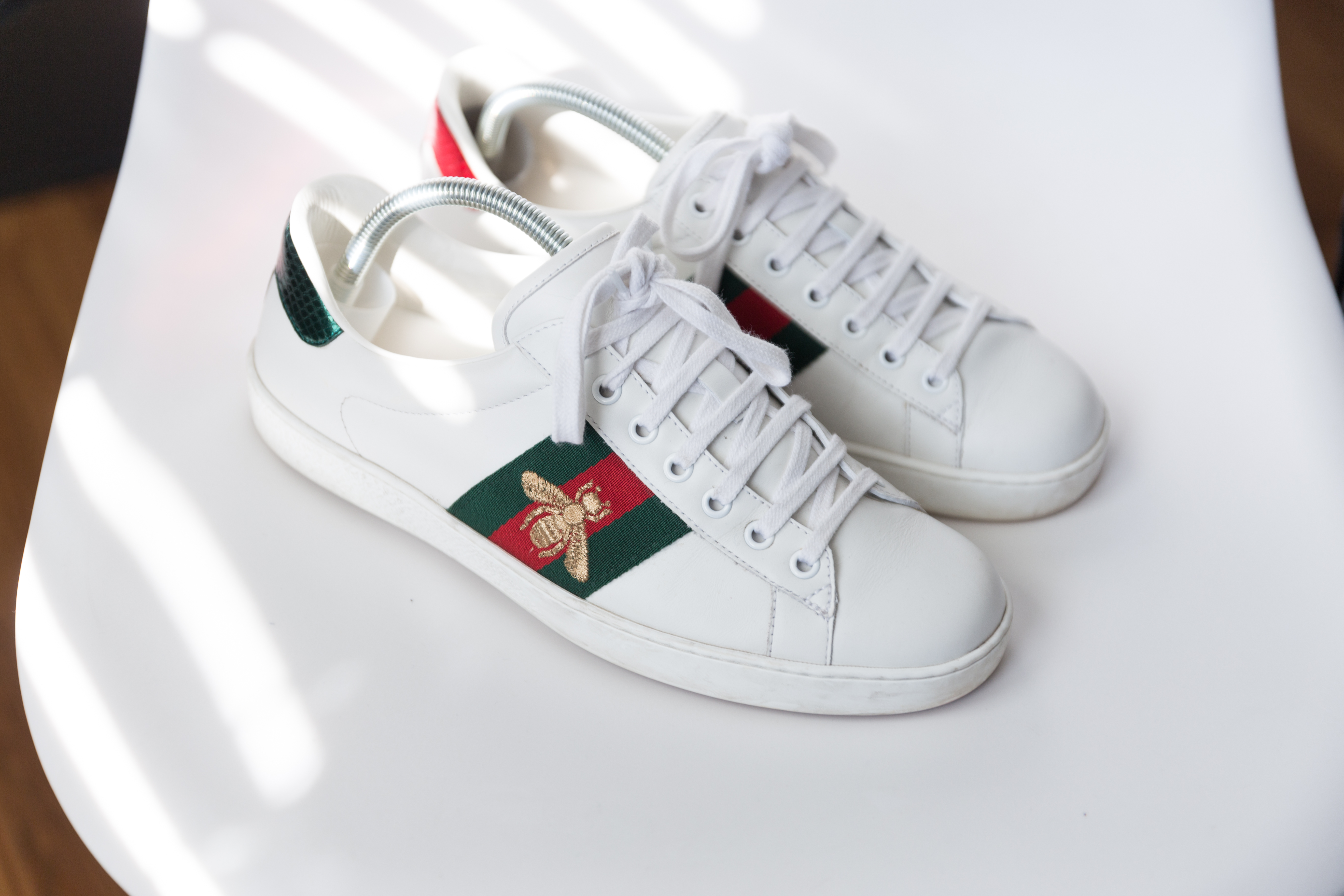 4aece65c695 Gucci Ace Watersnake-trimmed Embroidered Leather Sneakers | Grailed