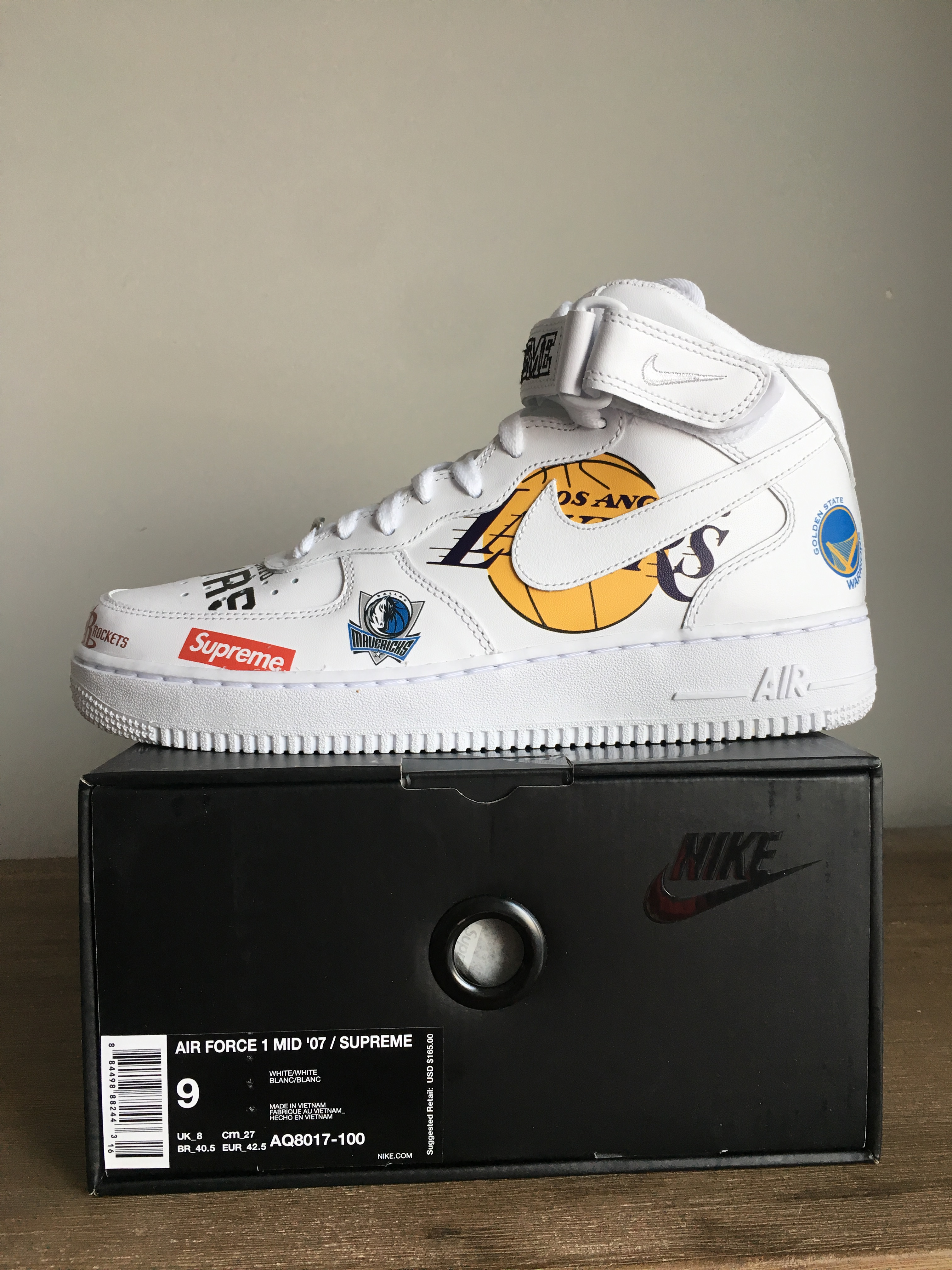 SupremeNike Air Force 1 Mid NBA White