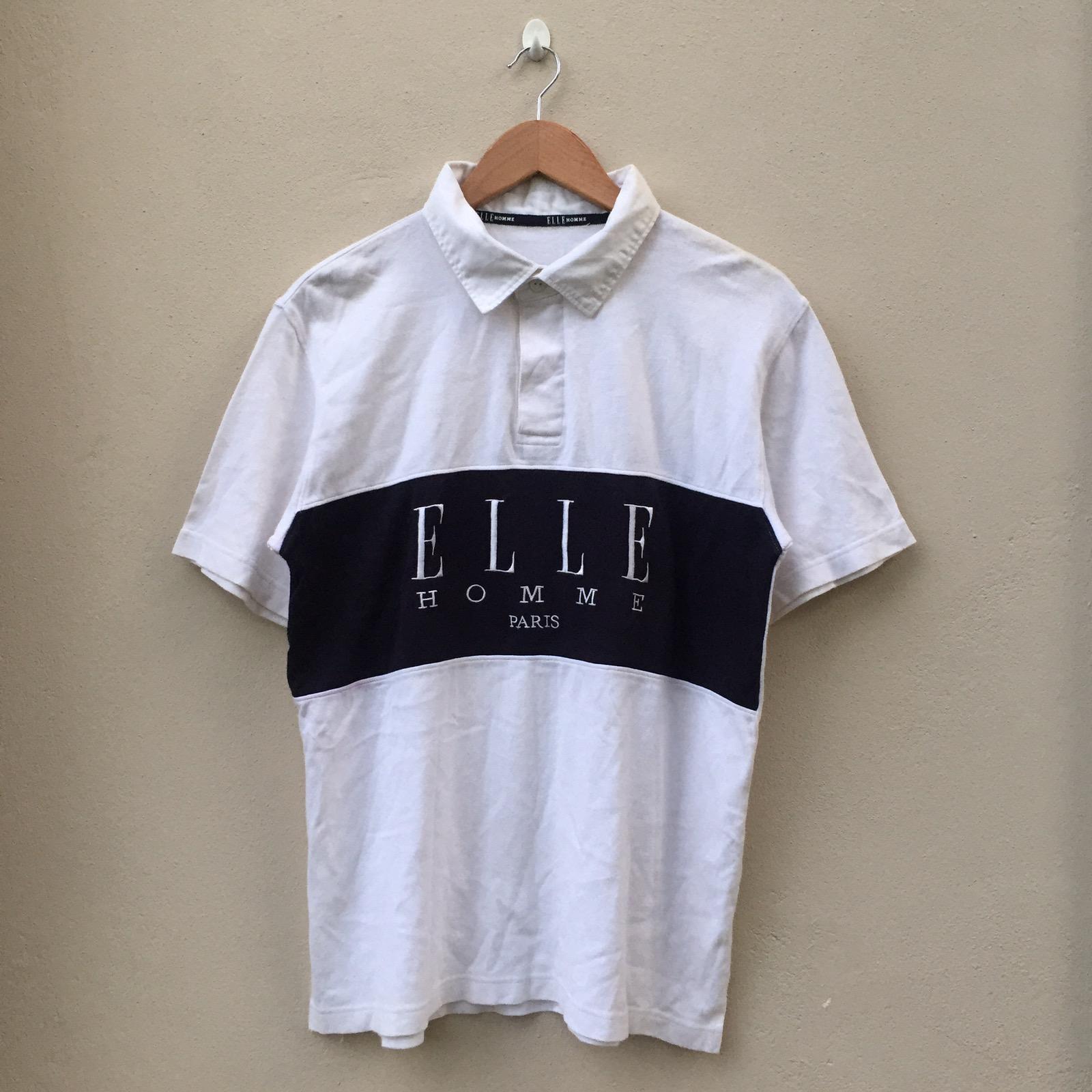 On Sale 32/% Vintage ELLE HOMME PARIS Rugby 80s 90s Short Sleeve Rare Shirt