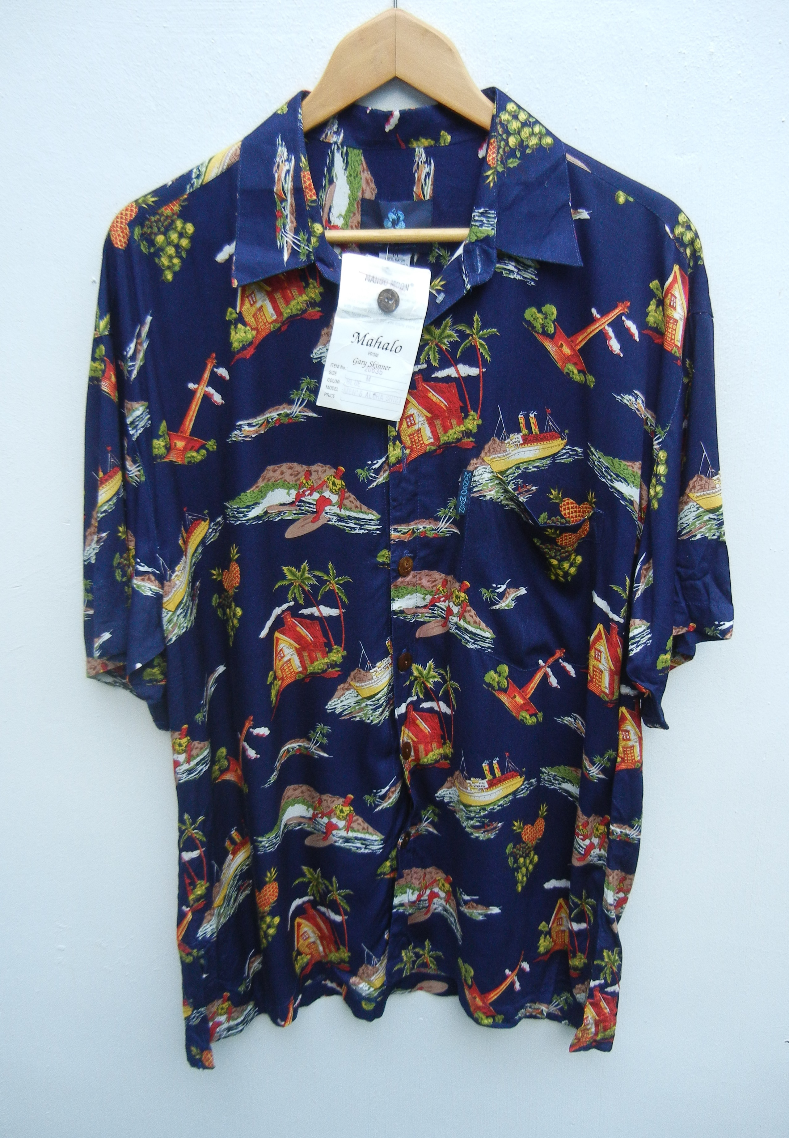 Japanese Brand 100 Rayon Mango Moon Hawaiian Shirt Aloha Beach