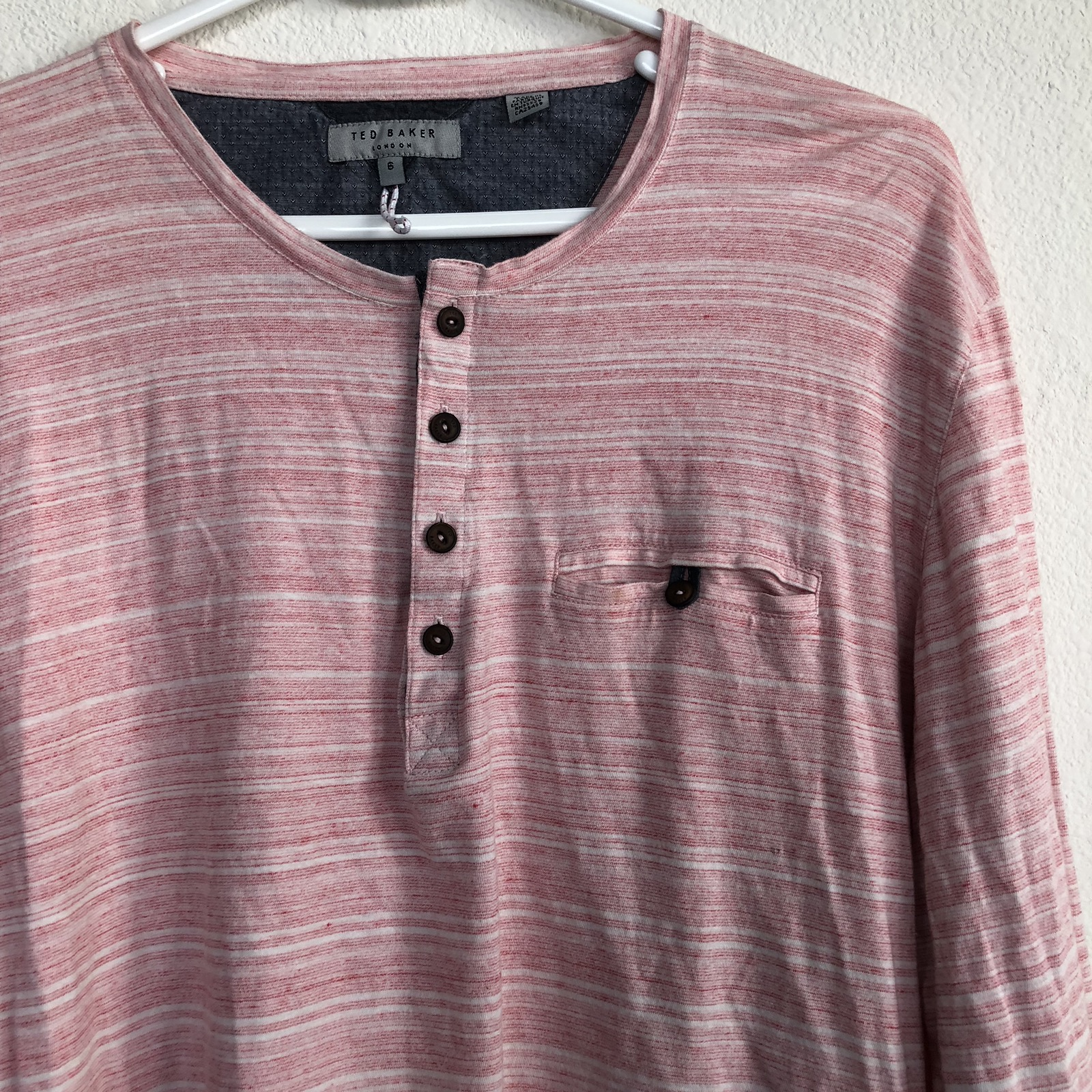 44934f2d6 Ted Baker TED BAKER Men s Striped Long Sleeve Front Pocket Henley Shirt  Size Large Size l - Long Sleeve T-Shirts for Sale - Grailed