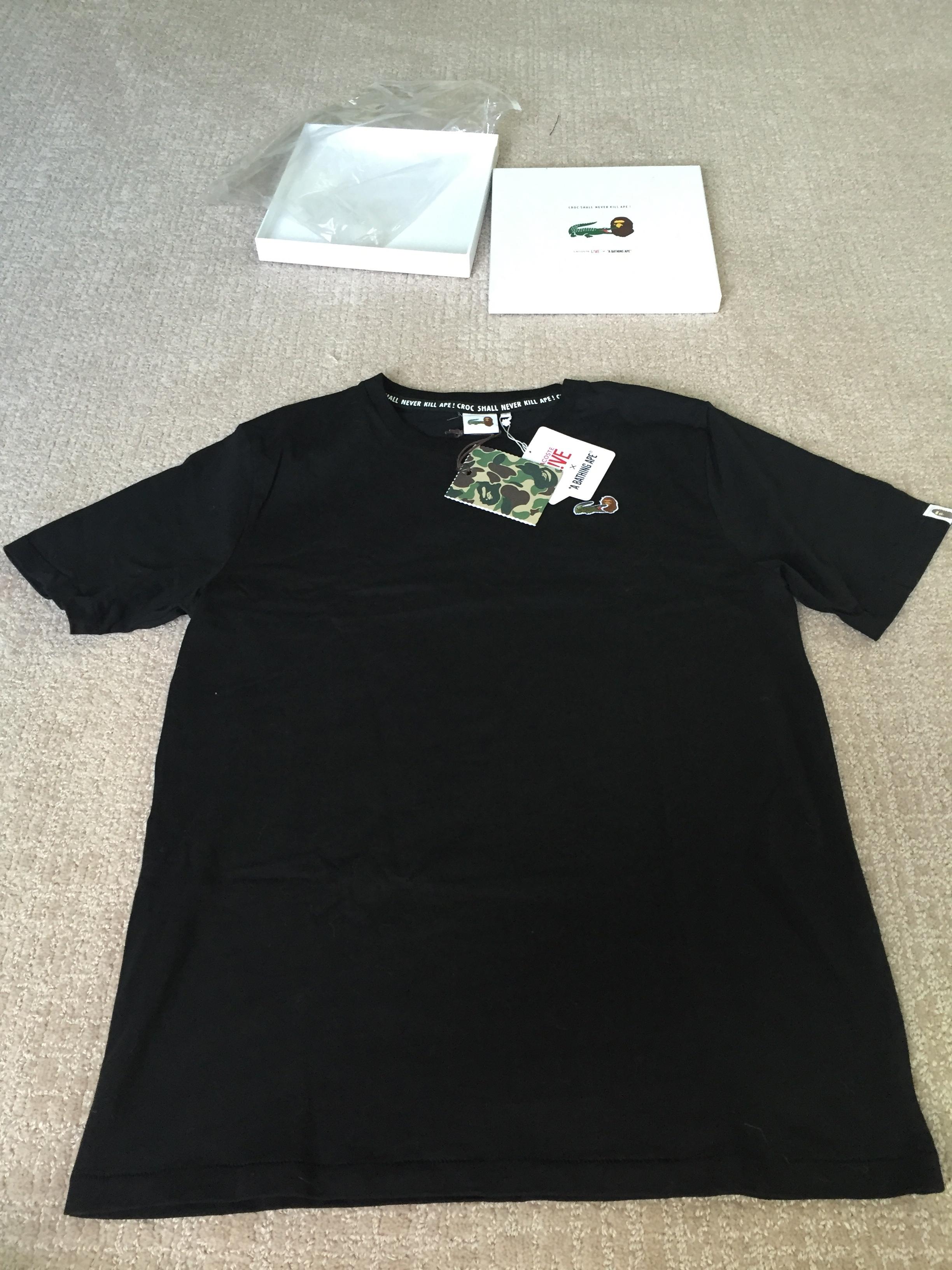 c68b2b6f3 Bape Lacoste Live (l!ve) X Bape T-shirt. Sz 6 (l). New W/ Tag N Box ...