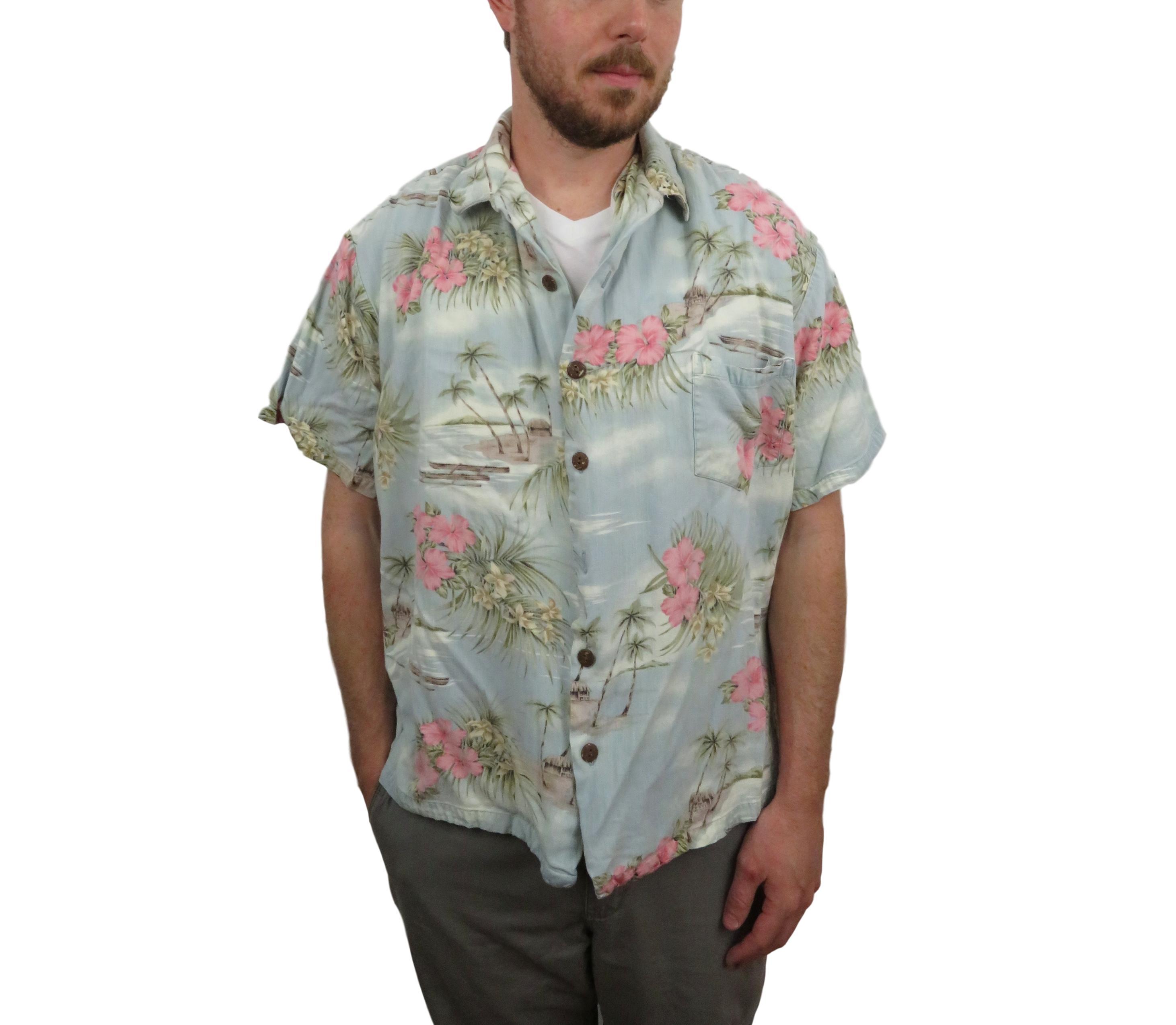 639bcc93 Vintage Vintage 70s Hilo Hattie Mens Floral Hawaiian Rayon Aloha Shirt 2xl  Camp Native L Xl Hibiscus Flowers Hut Canoe Palm Trees Button Down Short  Sleeve   ...