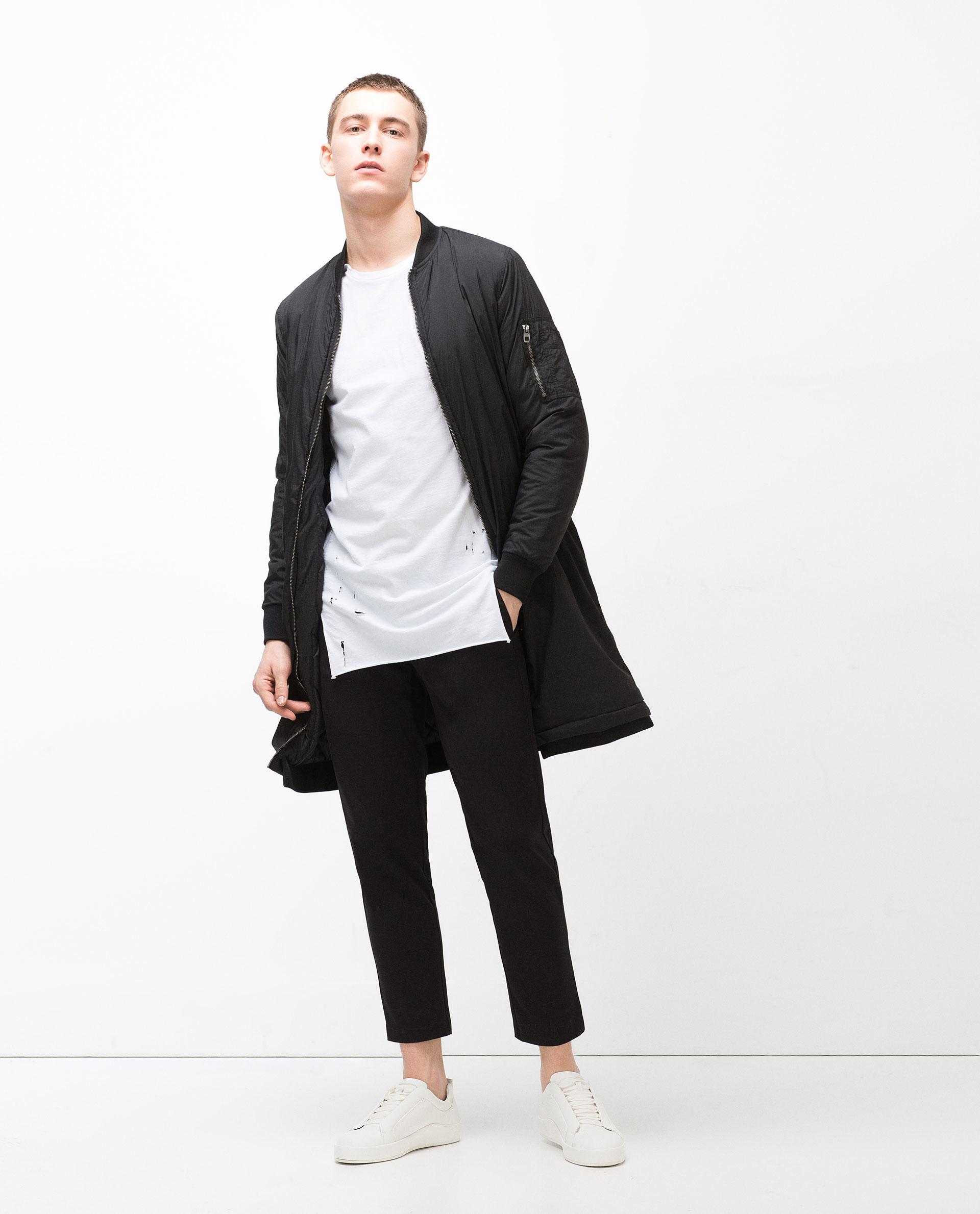 5a4d8598d3 Black Zara Man Bomber Jacket Trench coat Small Vintage