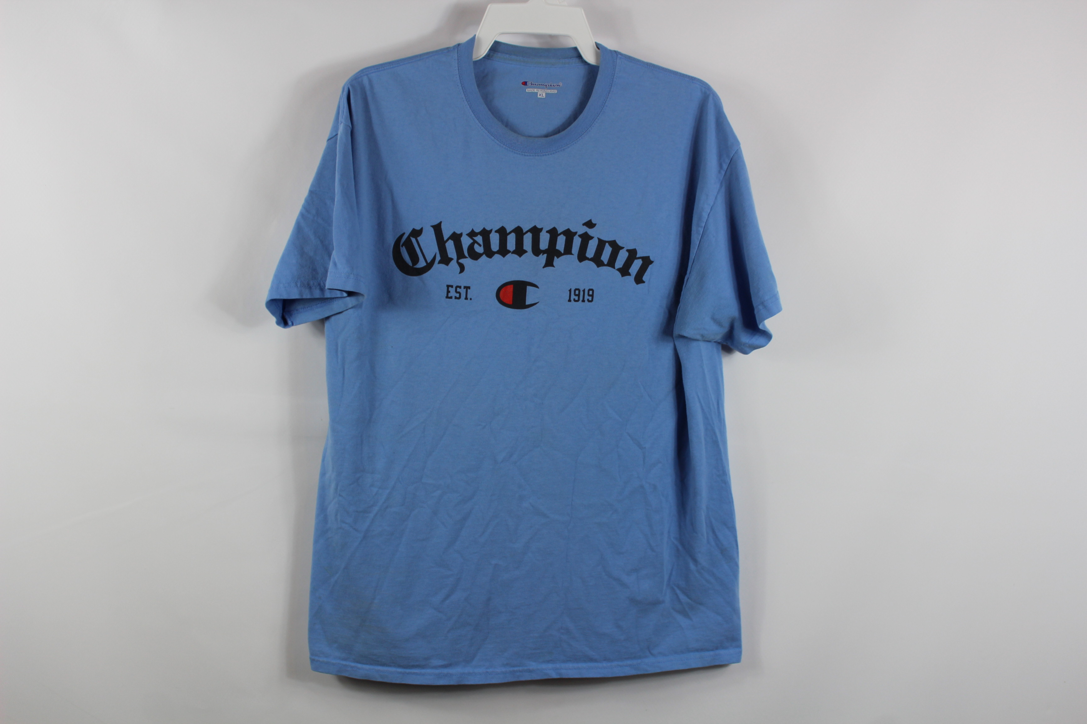 35d52632 Champion Vintage 90s Champion Mens Xl Spell Out Casual T Shirt Light ...