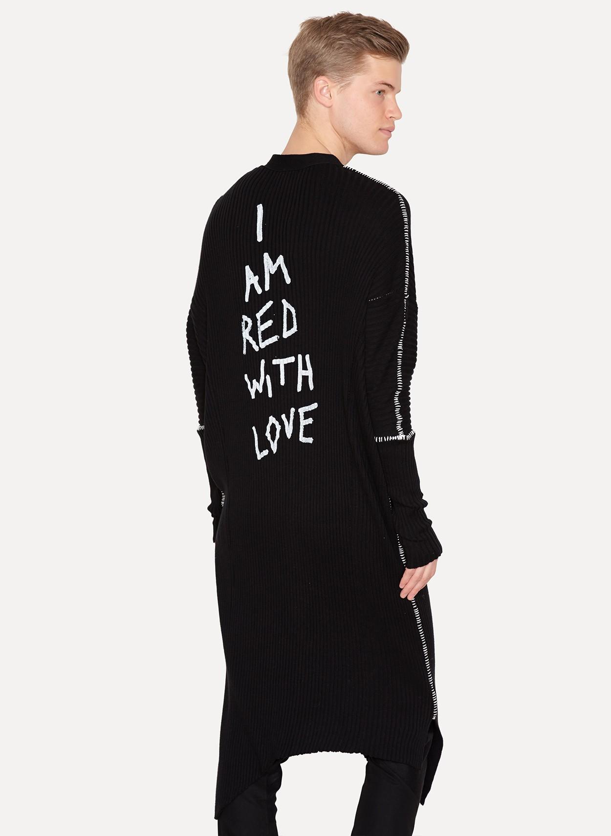 3935ff7376c Ann Demeulemeester Cotton Cashmere Long Knit Cardigan Taureg Black Print  Love Size s - Sweaters   Knitwear for Sale - Grailed