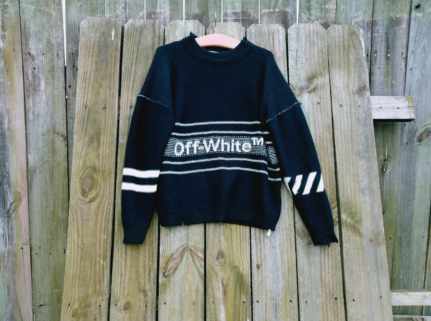 a97be0aaf Off-White OFF-WHITE oversized navy Logo Embroidered Sweater Size xxs ...