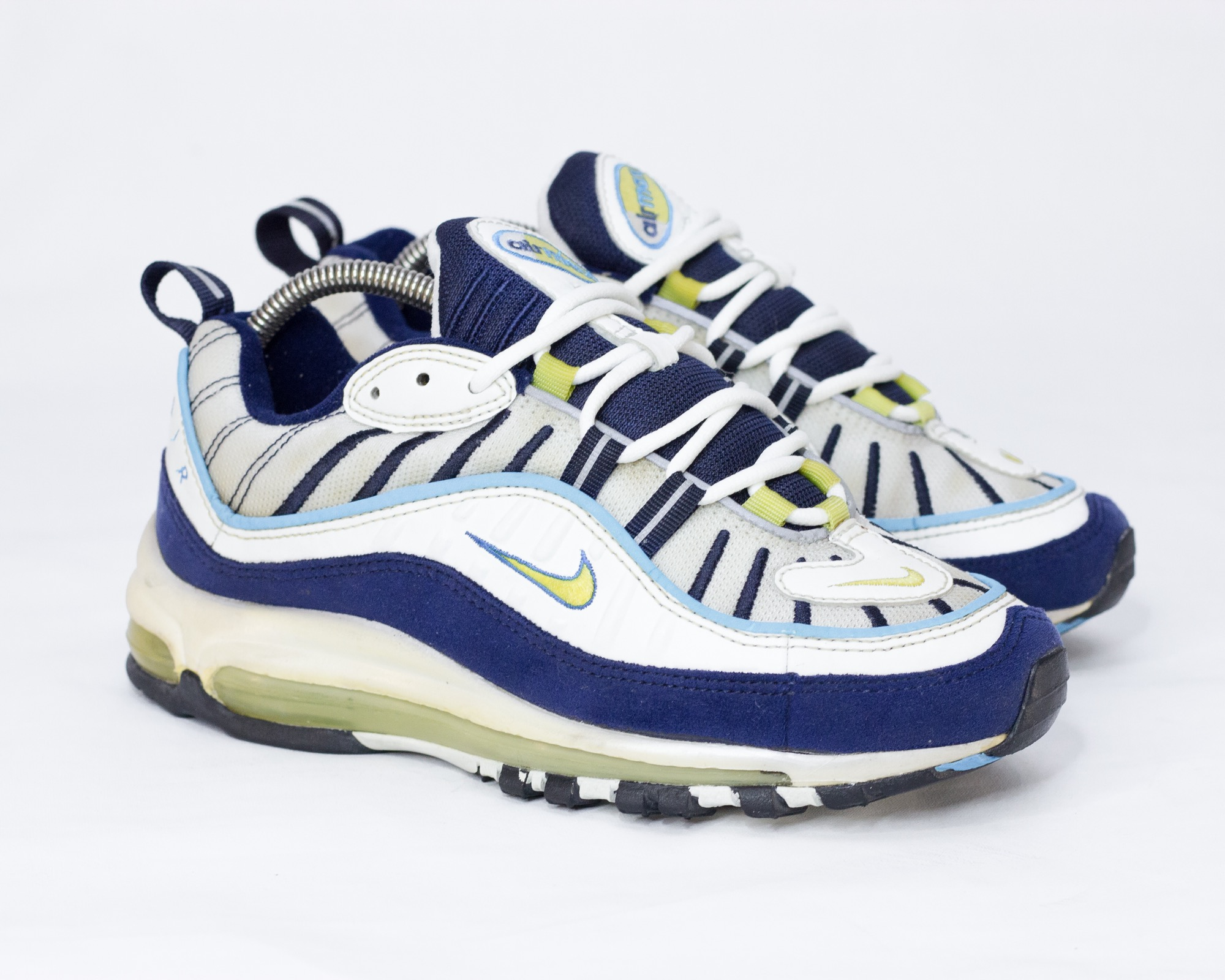 huge discount 04dcf 72fab RARE Vintage Nike Air Max 98 OG (1998) White/Navy/Yellow