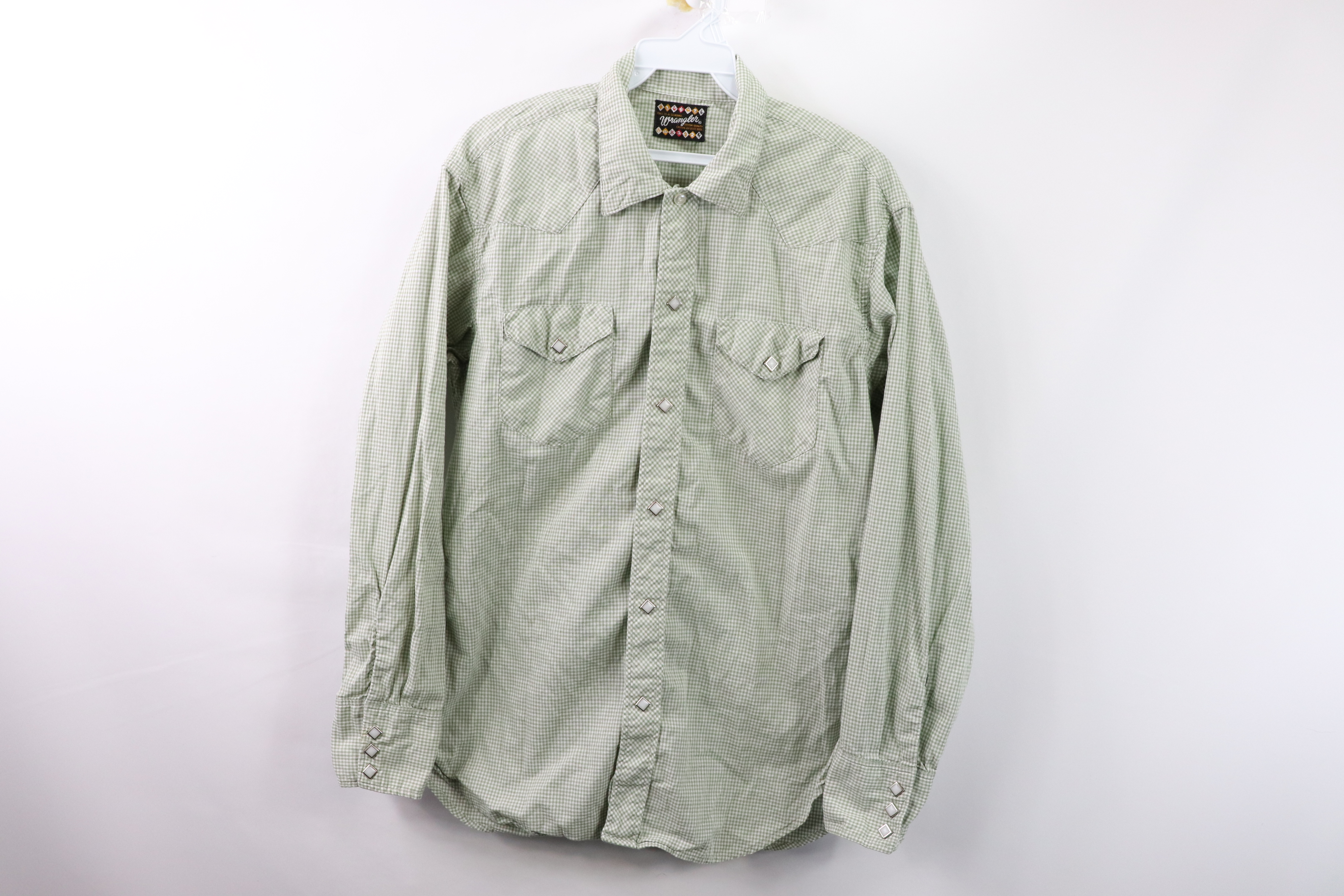 Large-XL Vintage 60s Wrangler Plaid Western Long Sleeve Shirt