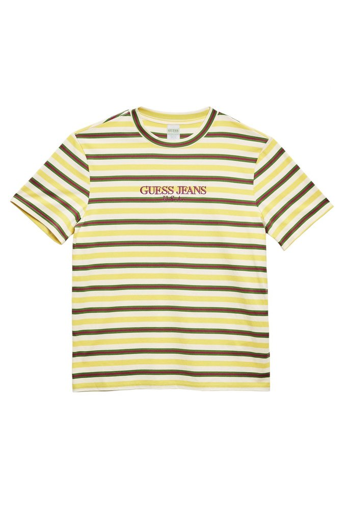 ef45e8575021 Guess Guess/farmers Market - Dragonfruit Striped Tee (yellow/brown) |  Grailed