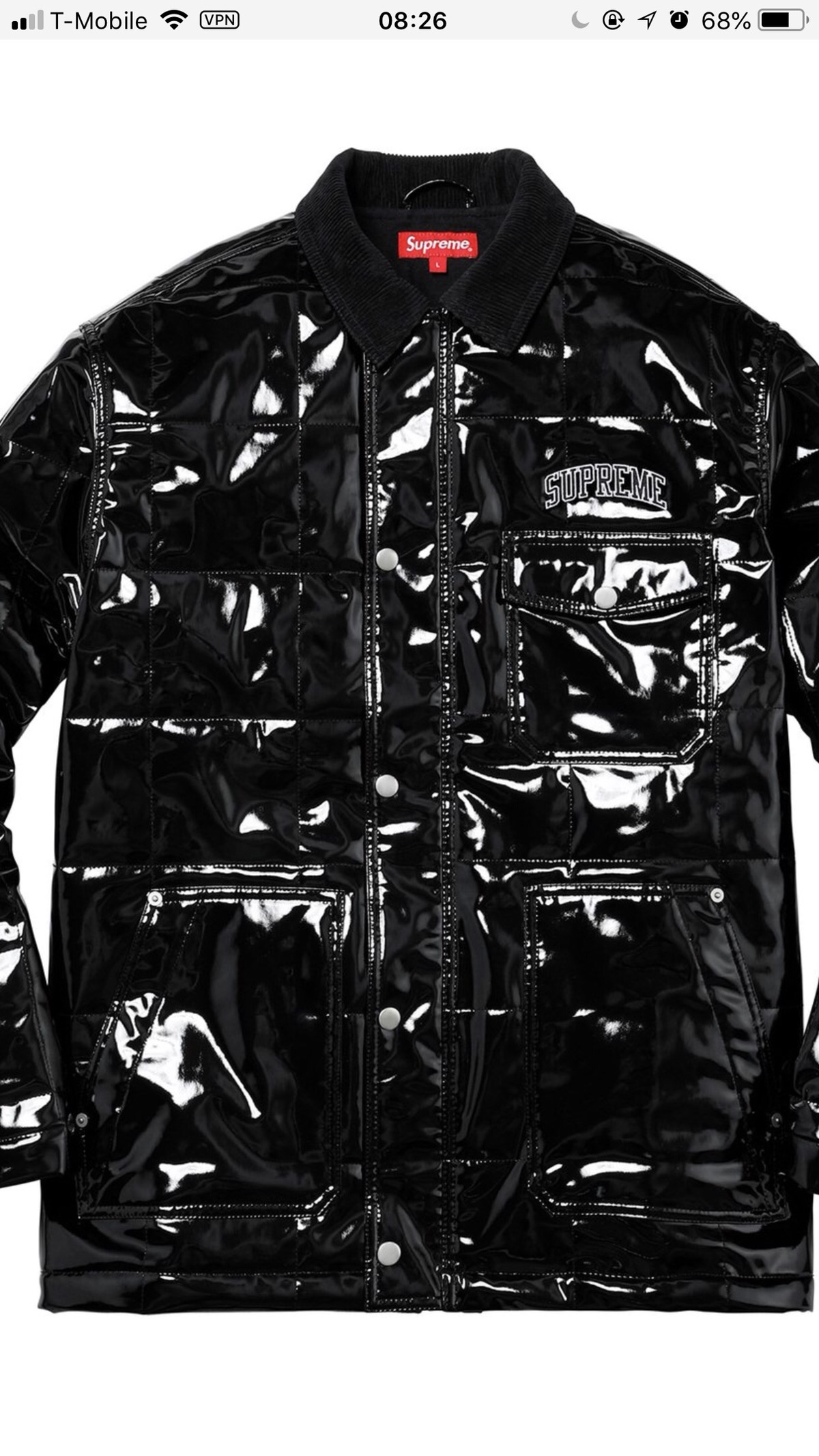 save off 468ef cf210 Supreme ×. Quilted Patent Vinyl Work Jacket