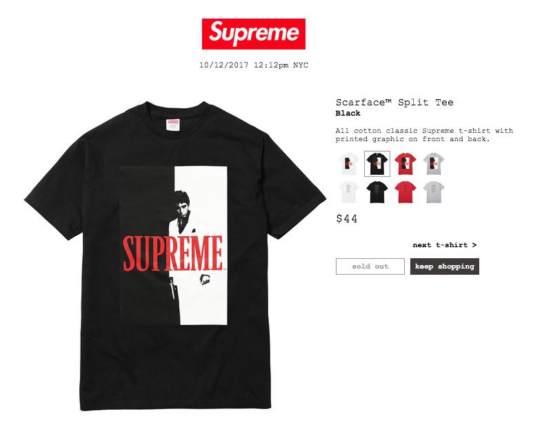 b254660851e Supreme Supreme x Scarface Split Tee Black
