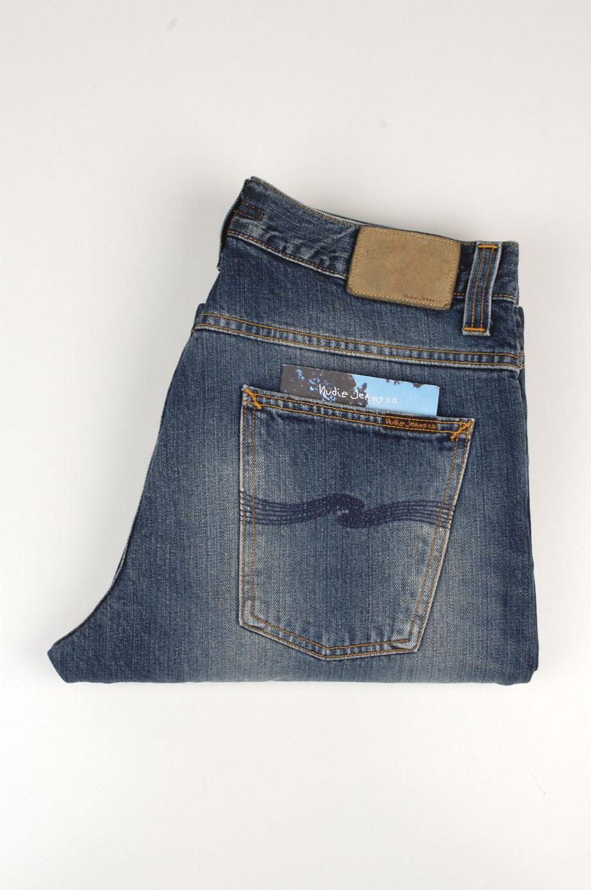 NUDIE Homme Regular Straight Fit Bio Denim JeansAverage Joe Dusty Navy embo