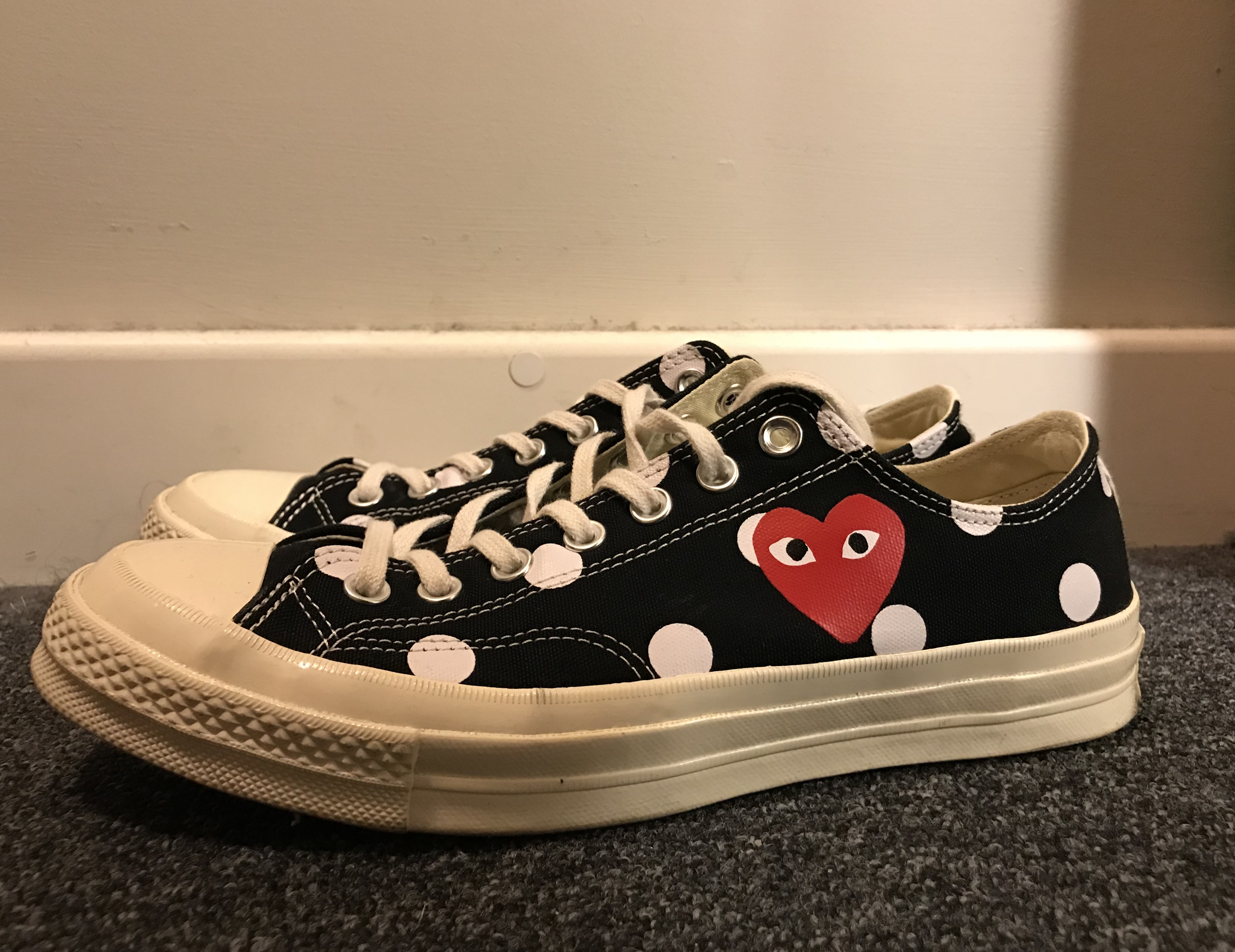 promo code bd05a 1aca1 Comme Des Garcons Play ×. Play Converse Polka Dot Chuck Taylor All Star  70  Low (Black)
